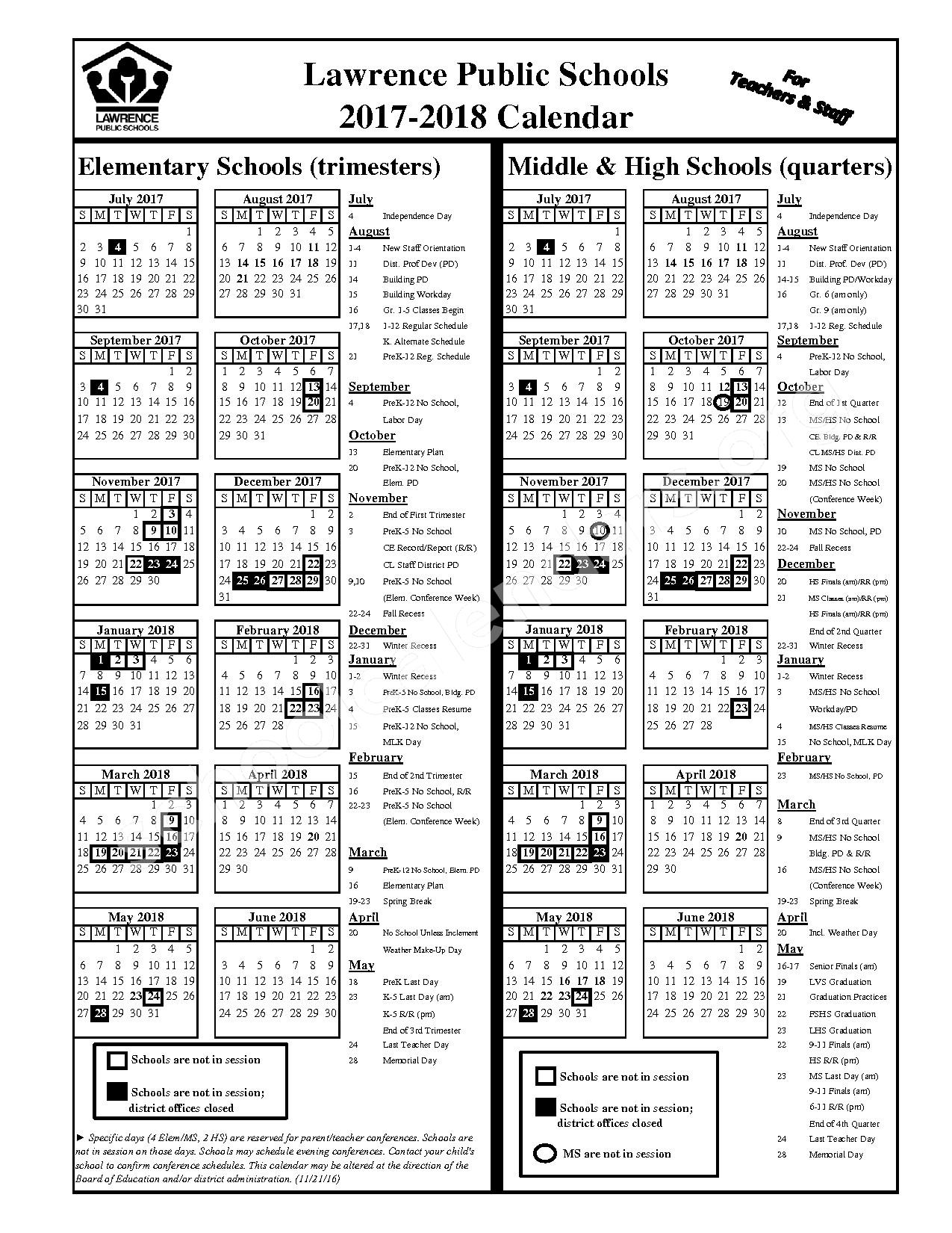 2017 - 2018 Staff Calendar – Lawrence Unified School District 497 – page 1