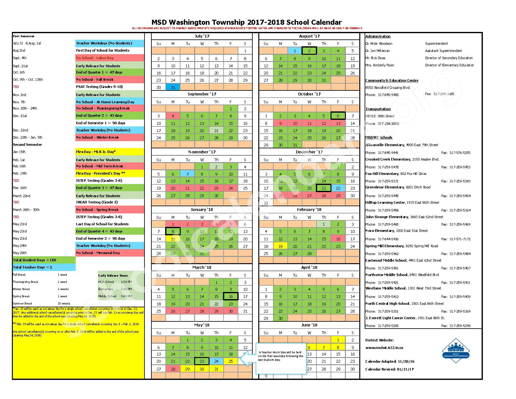 2017 - 2018 School Calendar – Metropolitan School District Washington Township – page 1