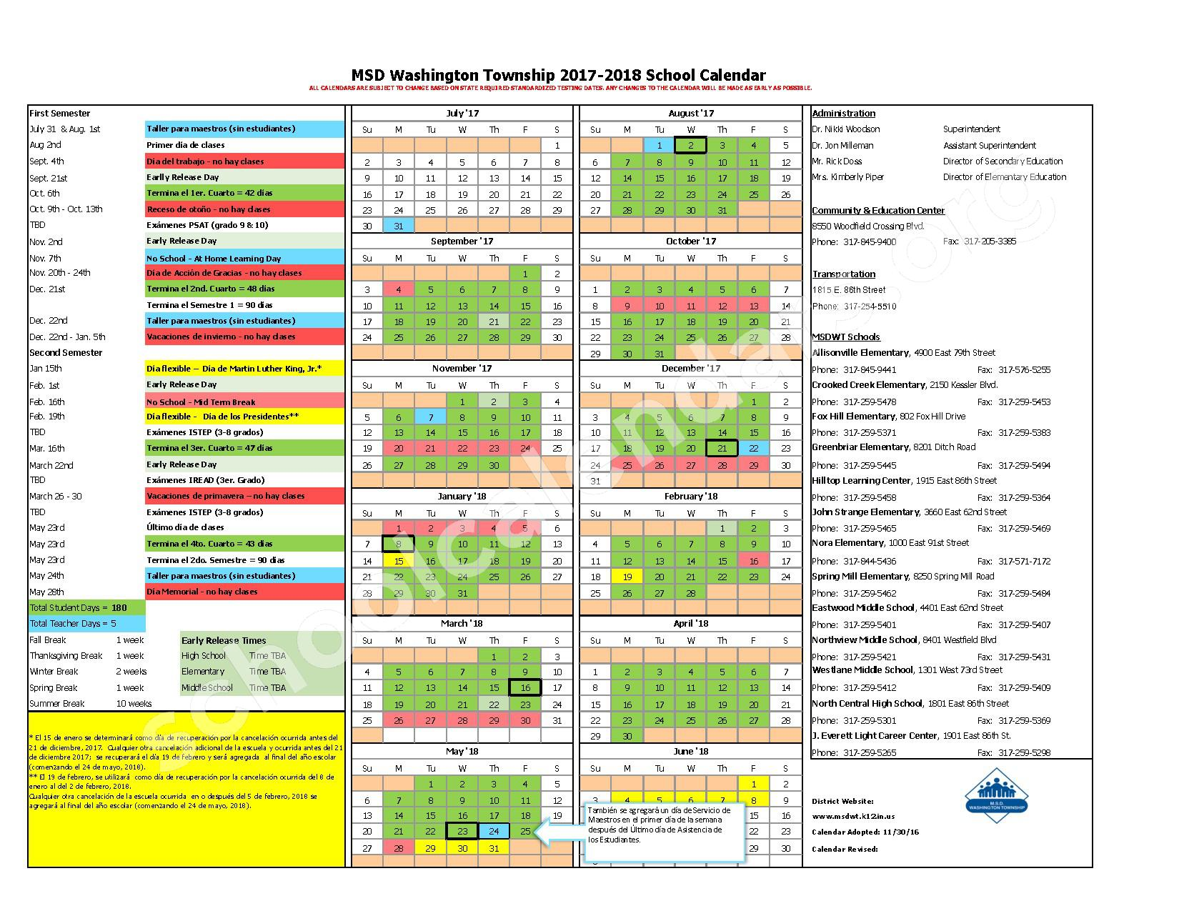 2017 - 2018 Calendario Escolar – Metropolitan School District Washington Township – page 1