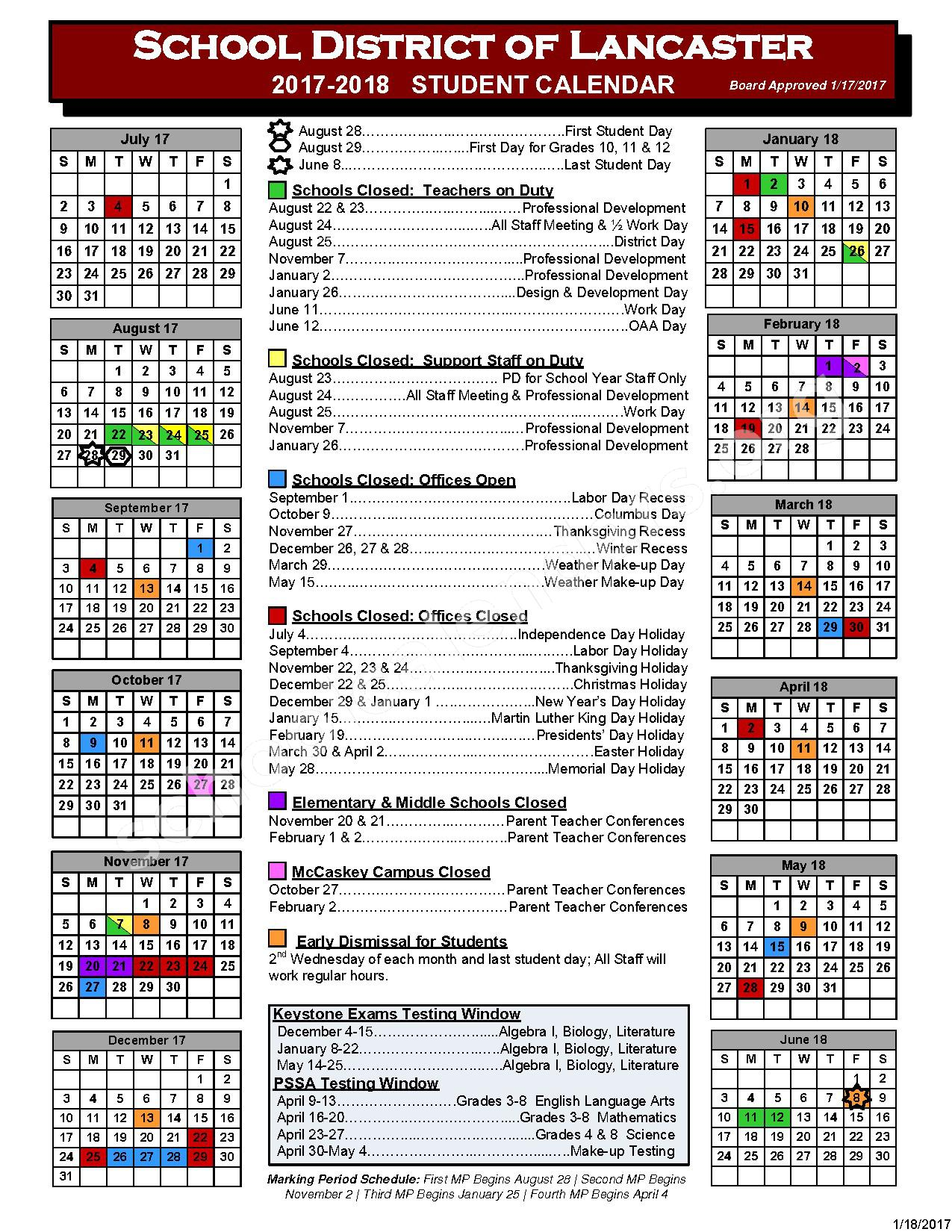 2017 - 2018 School Calendar – Lancaster School District – page 1