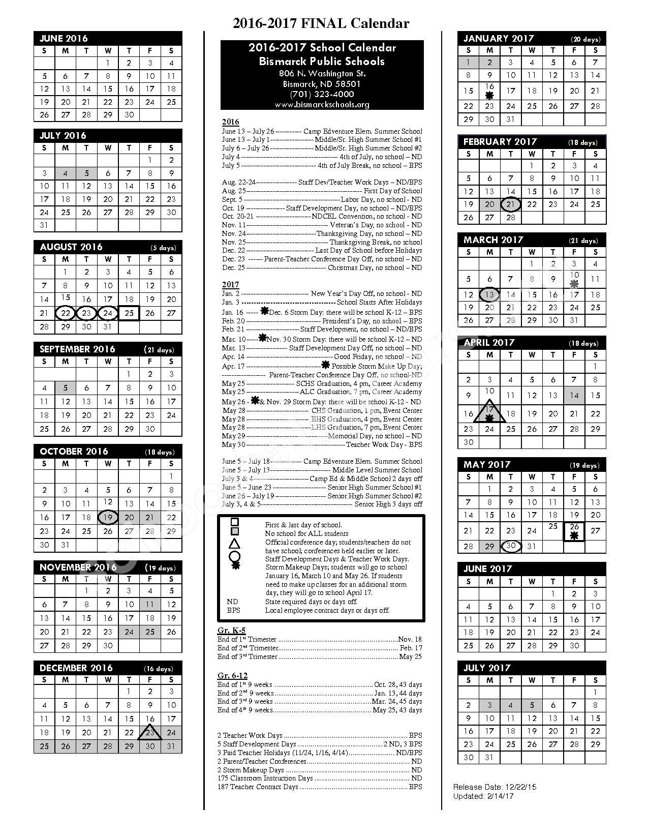 2016 - 2017 School Calendar – South Central Alternative School – page 1