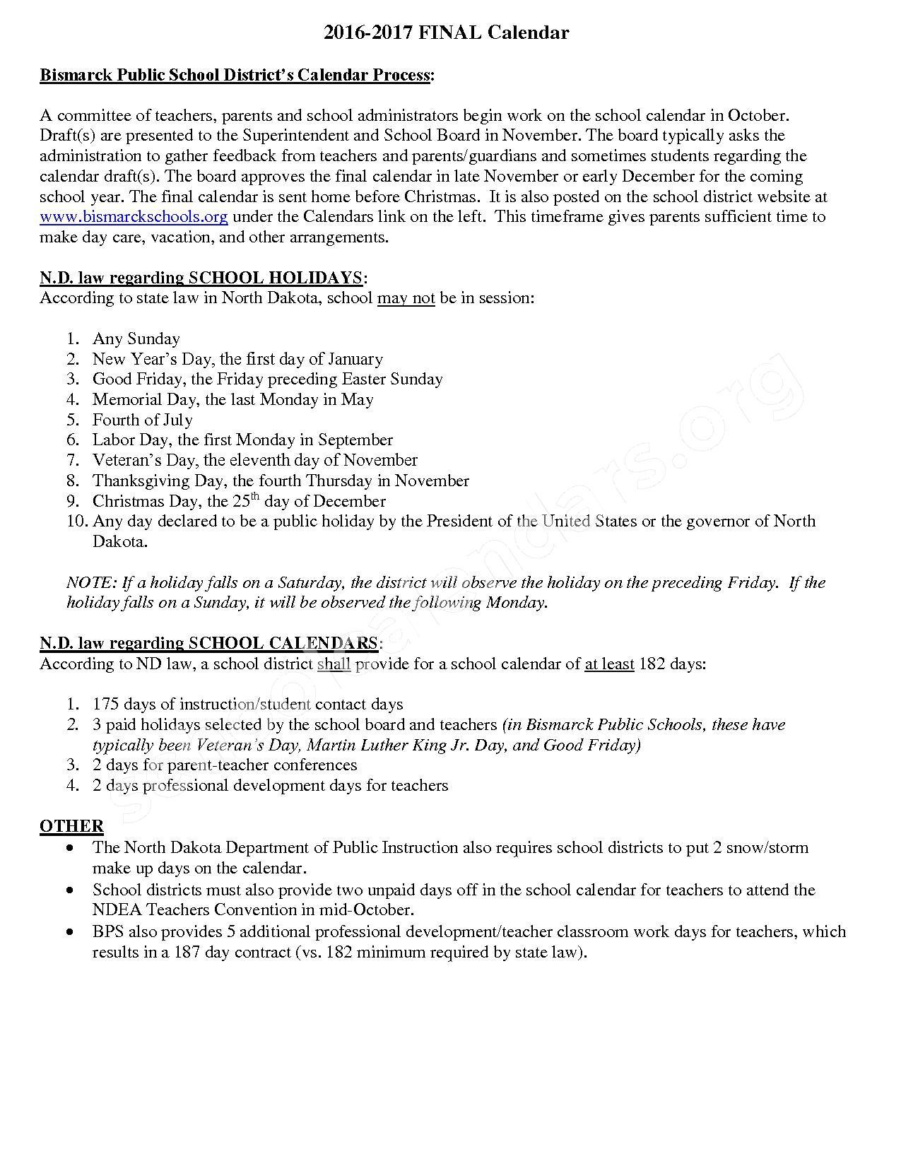 2016 - 2017 School Calendar – South Central Alternative School – page 2