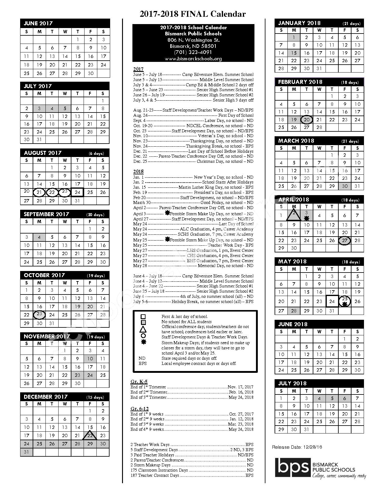 2017 - 2018 school calendar – Bismarck High School – page 1