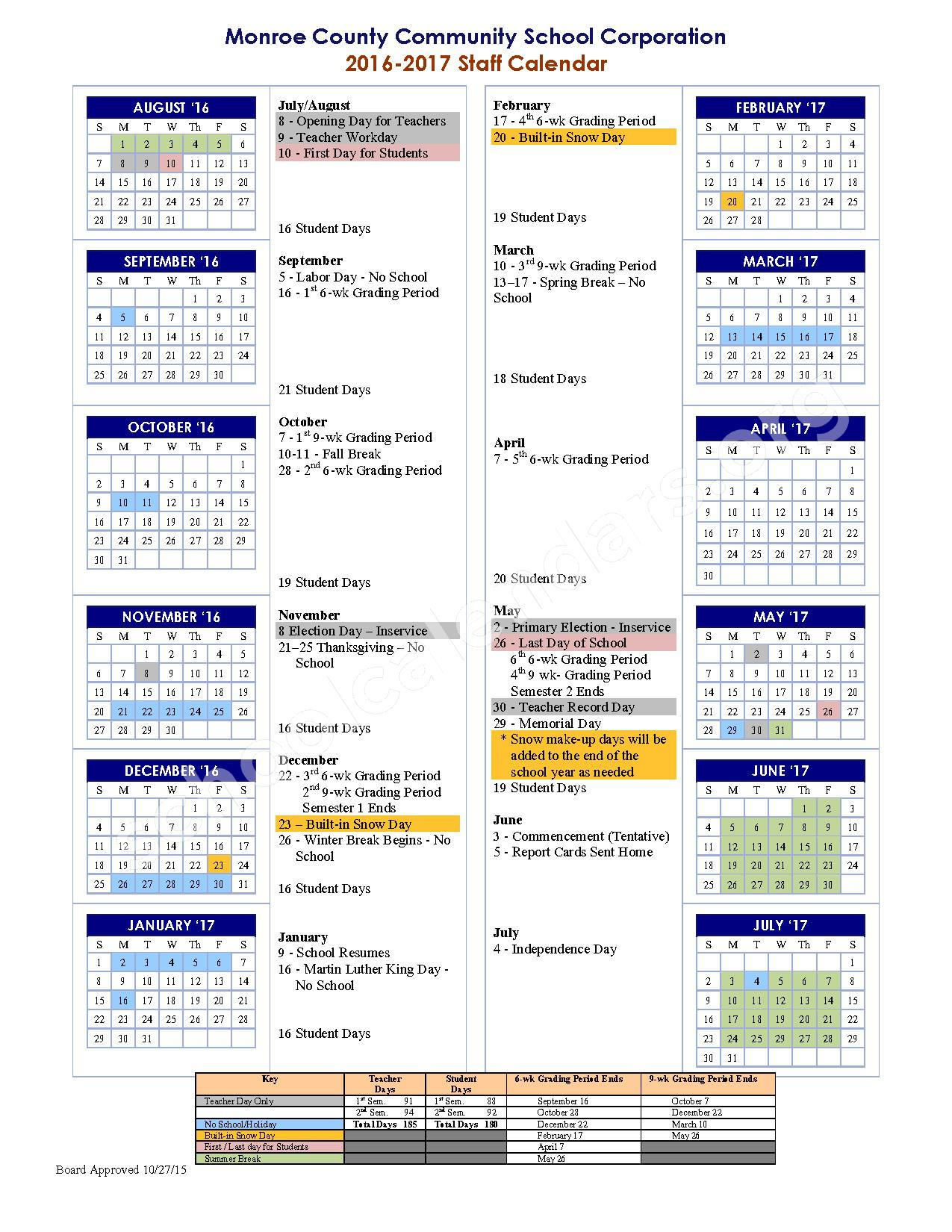 2016 - 2017 School Calendar – Monroe County Community School Corporation – page 1