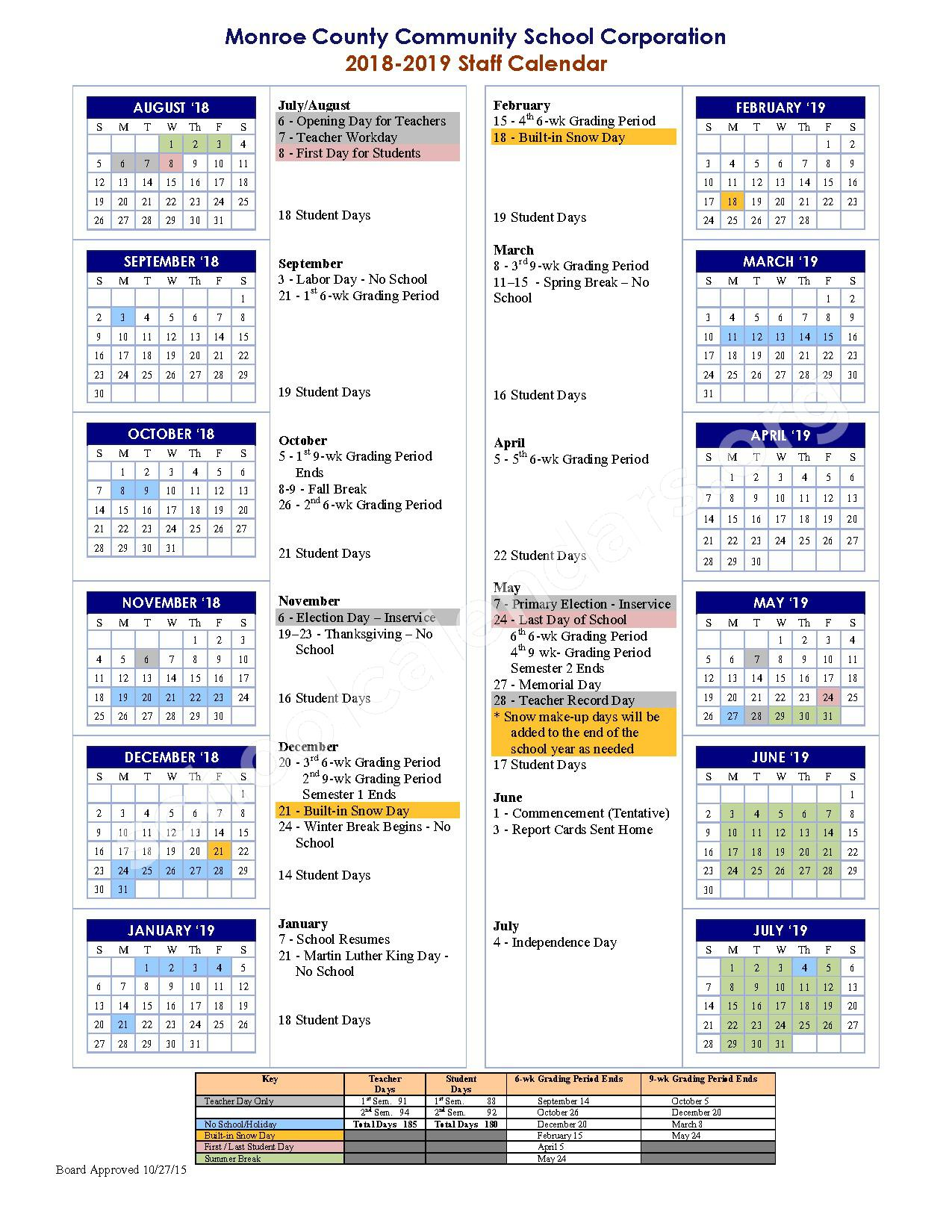 2018 - 2019 School Calendar – Monroe County Community School Corporation – page 1