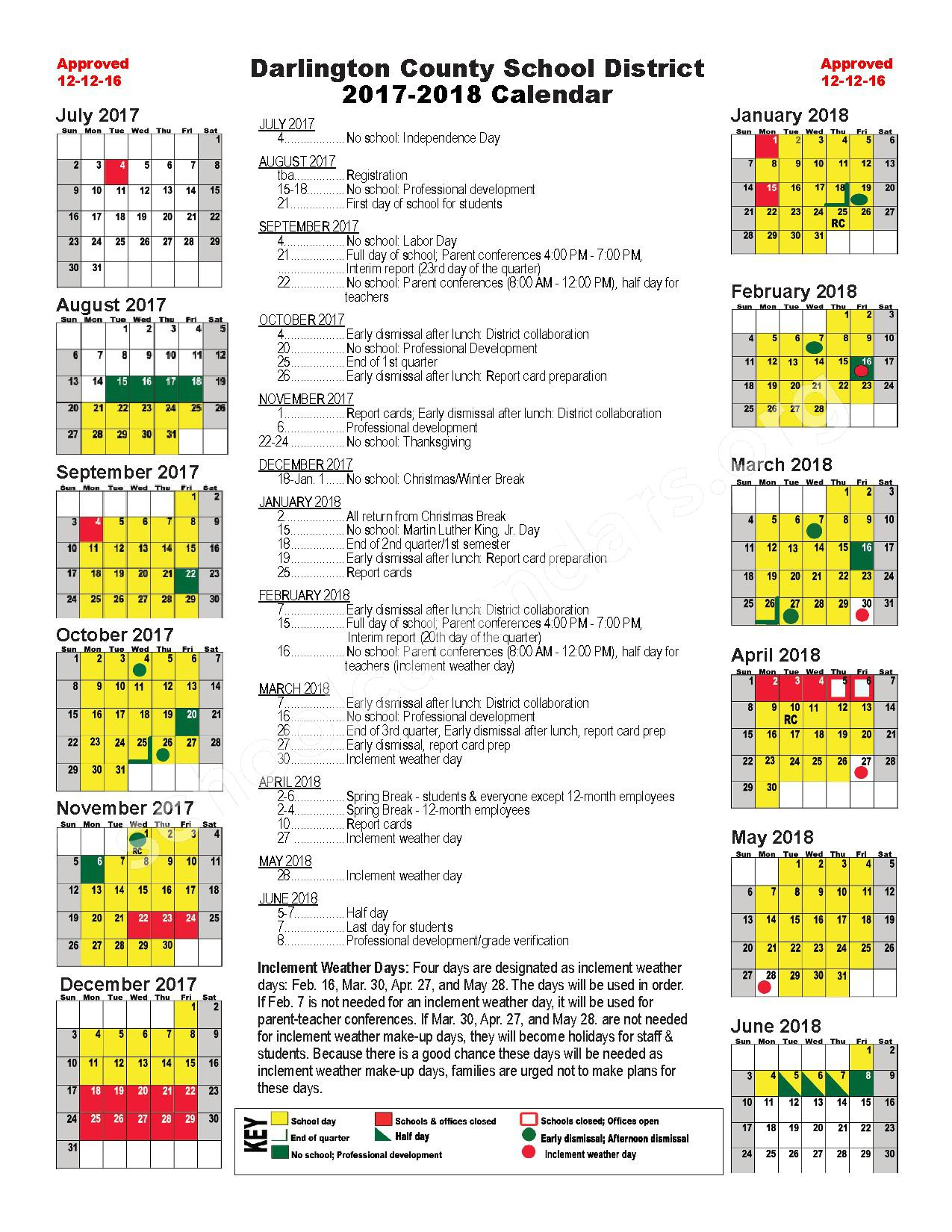 2017 - 2018 District Calendar – Cain Elementary School – page 1