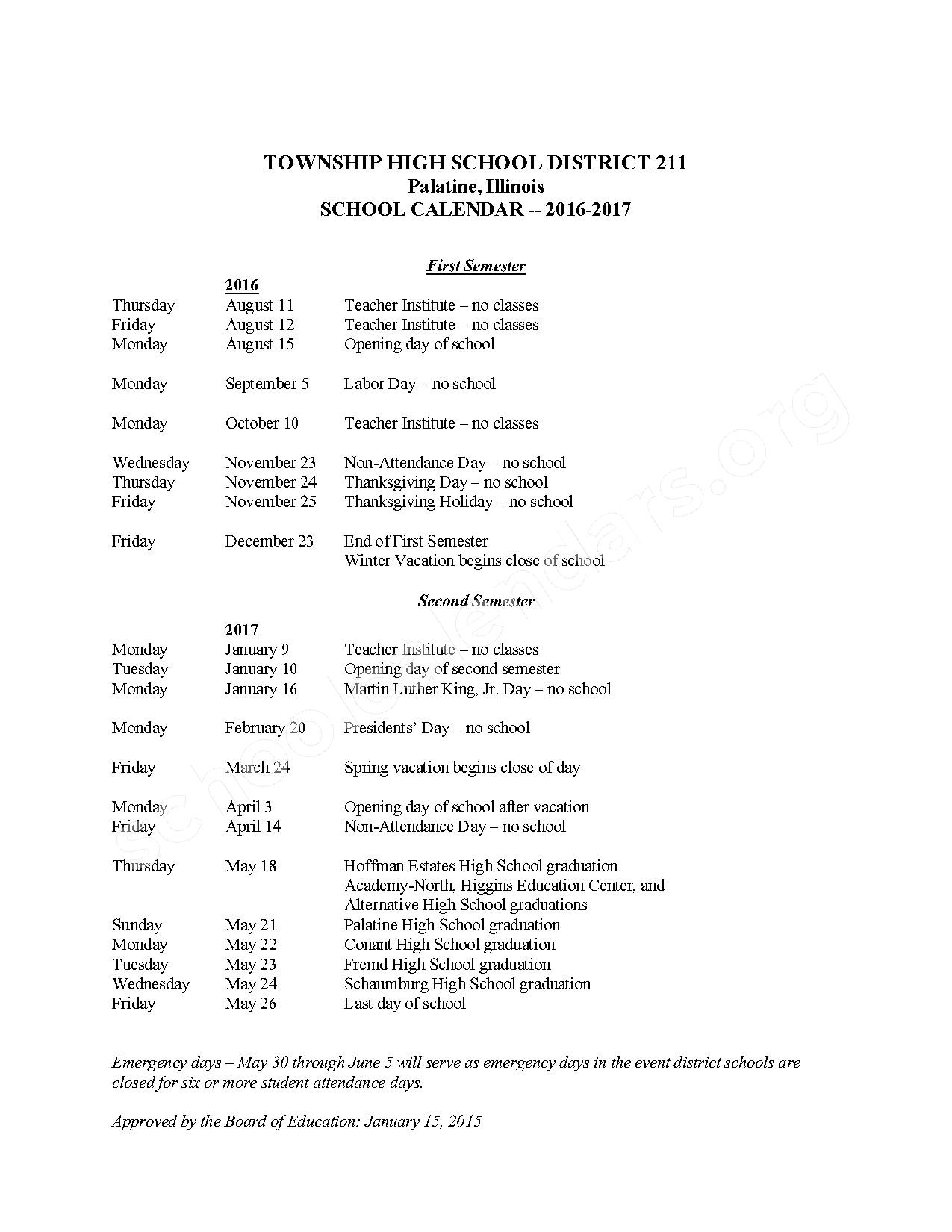 2016 - 2017  District Calendar – Township High School District 211 – page 1