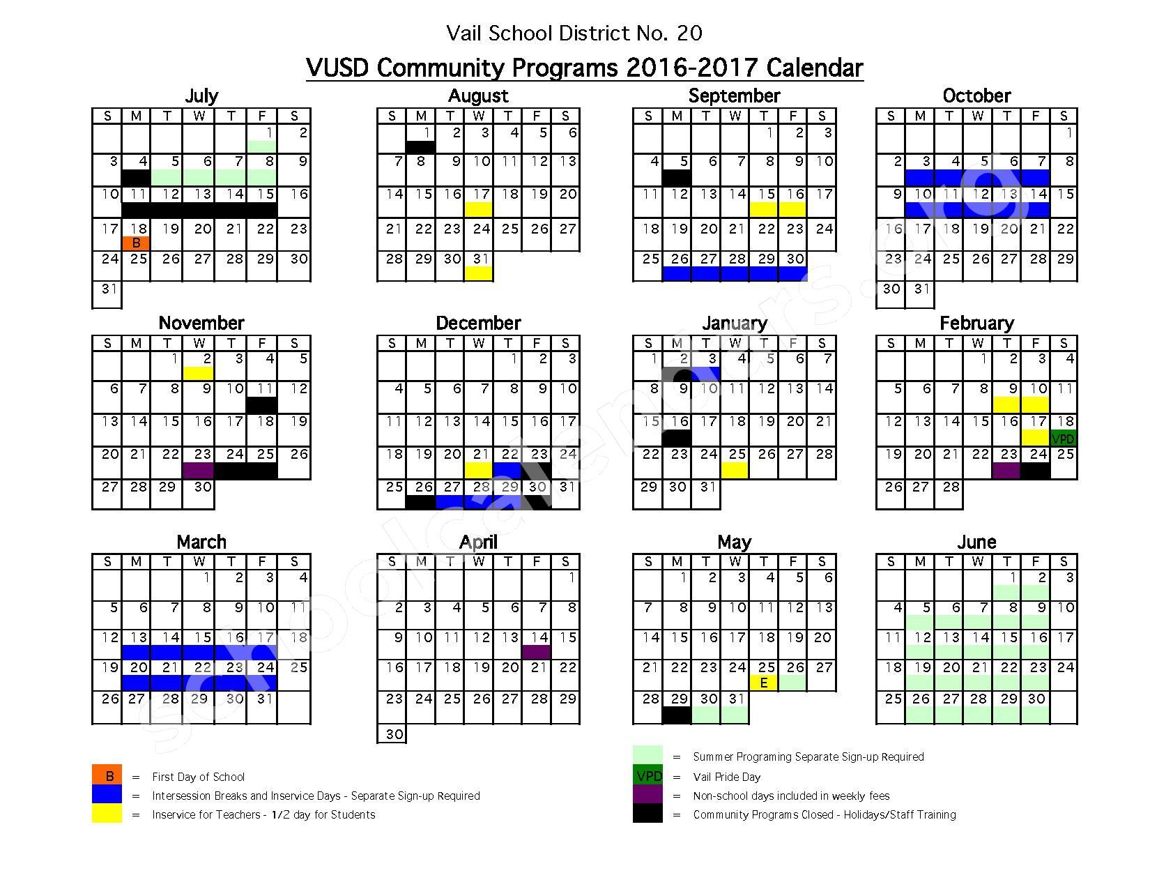 2016 - 2017 VUSD Community Programs Calendar – Vail Digital Learning Program – page 1