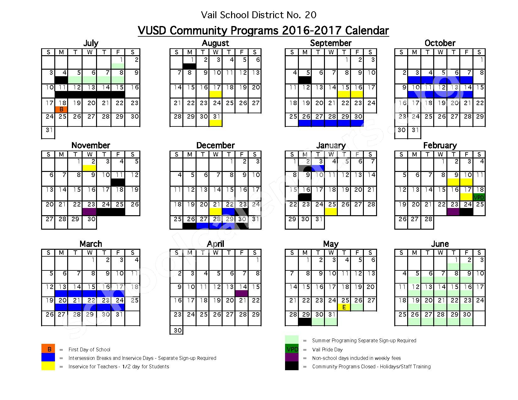 2016 - 2017 VUSD Community Programs Calendar – Vail School District – page 1