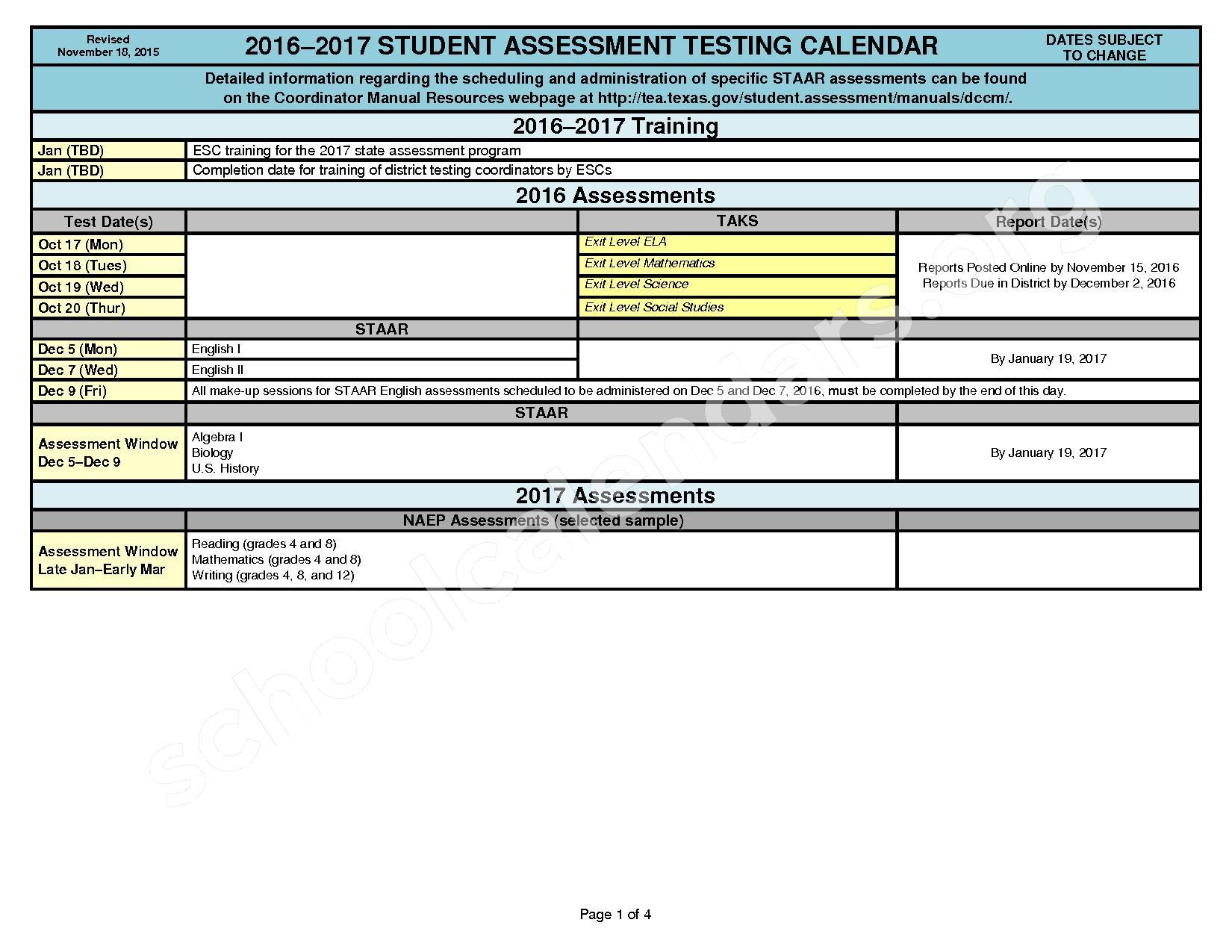 2016 - 2017 District Calendar – Georgetown Independent School District – page 1