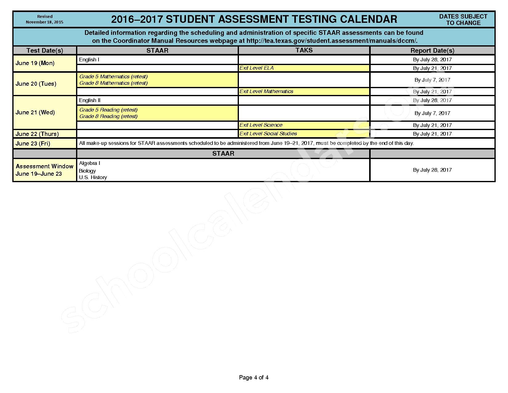 2016 - 2017 District Calendar – Georgetown Independent School District – page 4
