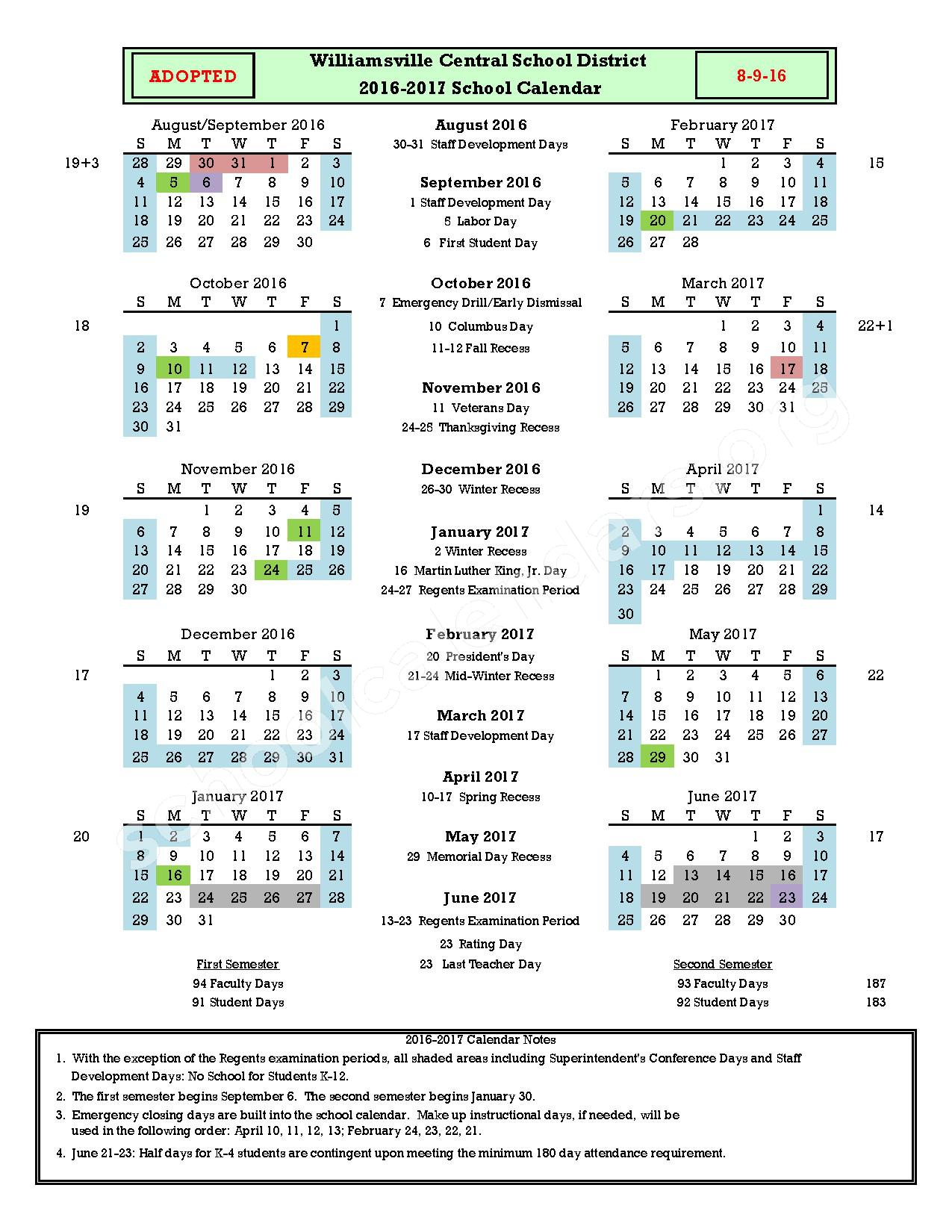 2016 - 2017  District Calendar – Williamsville Central School District – page 1