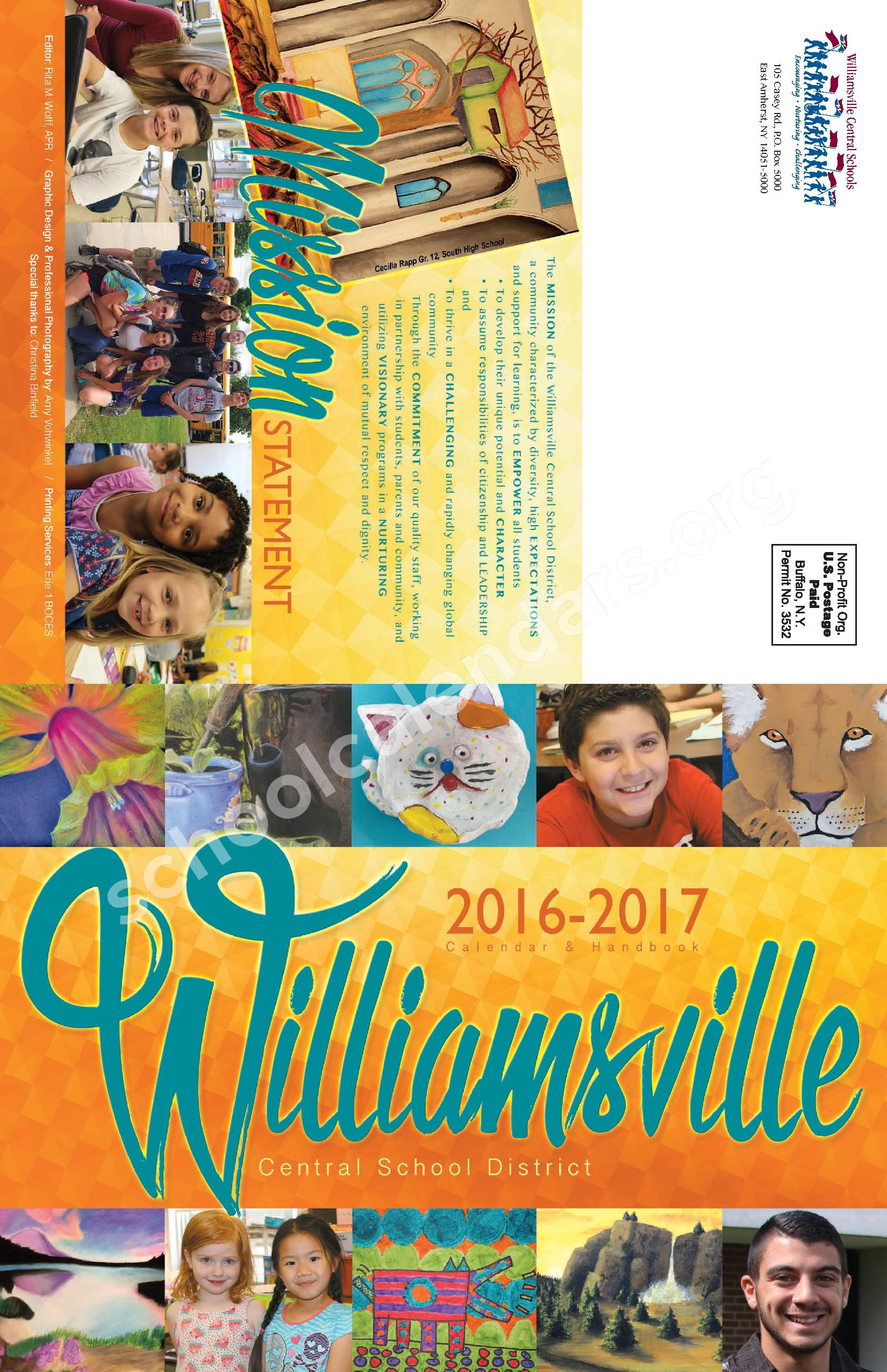 2016 - 2017  District Calendar – Maple West Elementary School – page 1