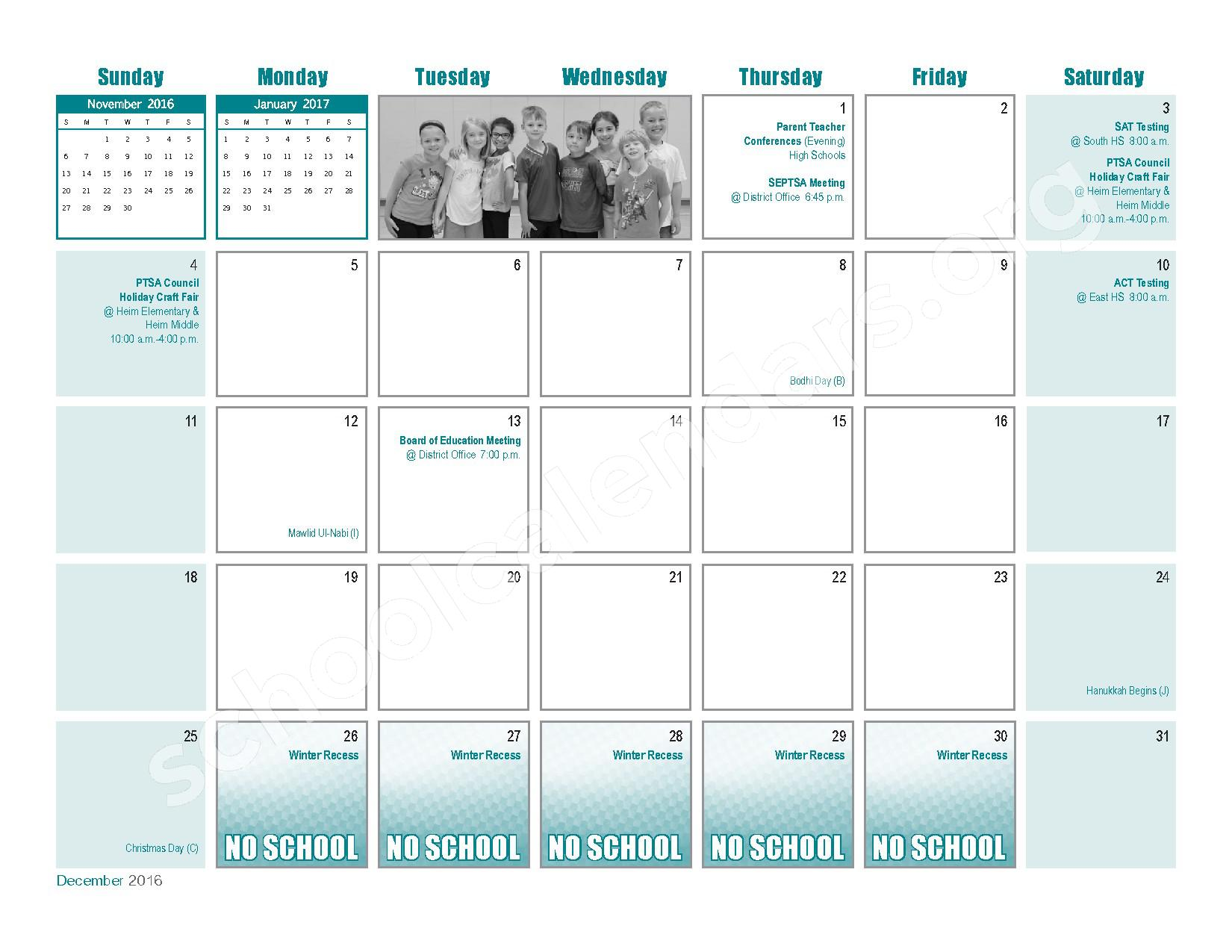 2016 - 2017  District Calendar – Transit Middle School – page 11
