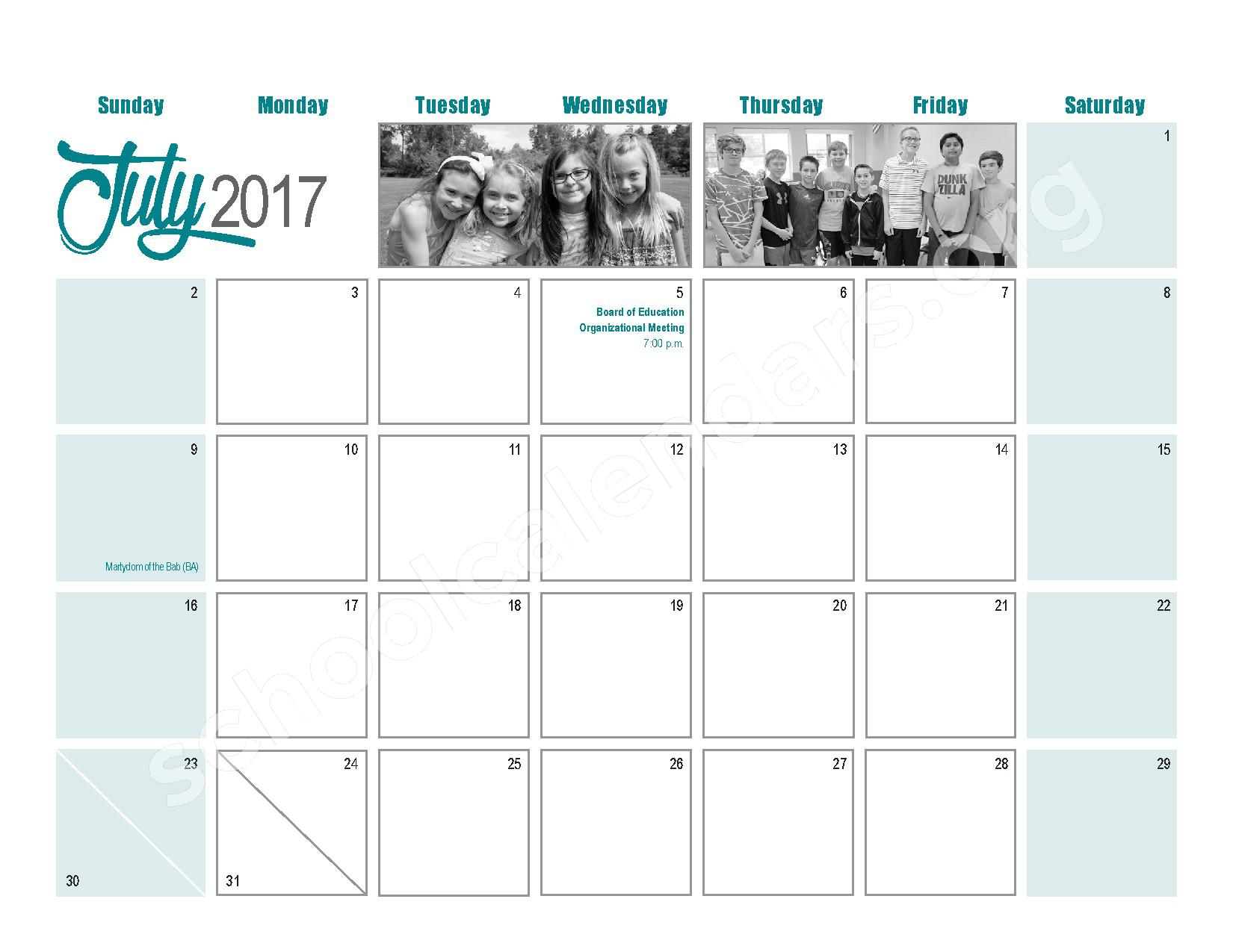 2016 - 2017  District Calendar – Maple West Elementary School – page 24