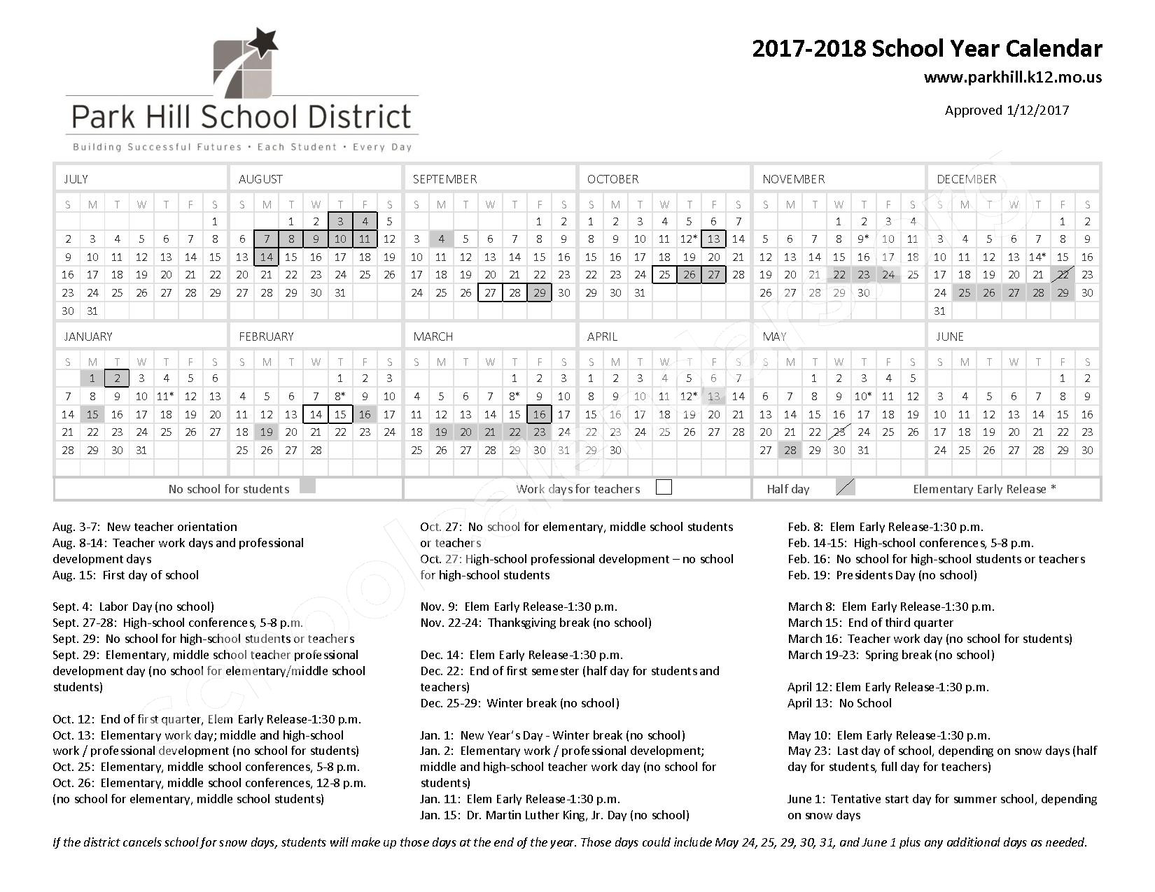 2017 - 2018 School Calendar – Park Hill School District – page 1