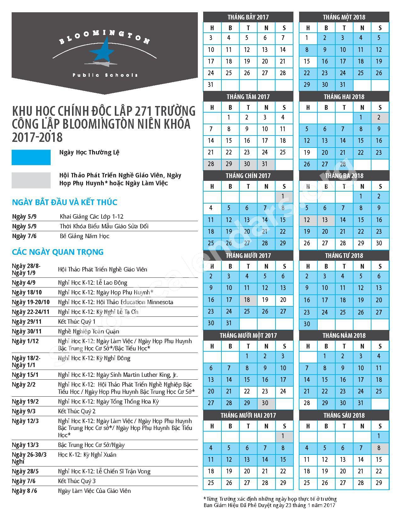 2017 - 2018 School Calendar (Vietnamese) – Bloomington Public School District – page 1