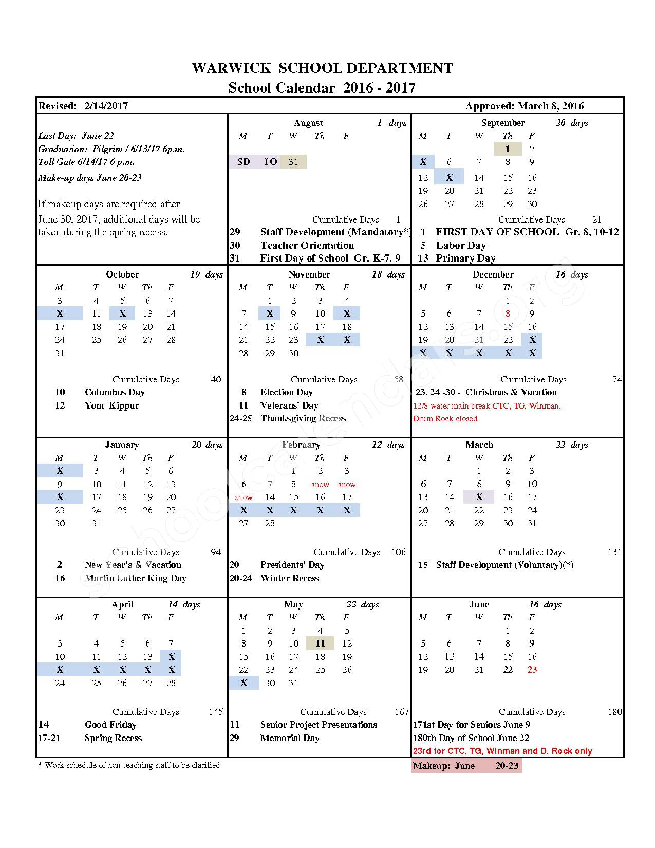 2016 - 2017 School Calendar (Revised) – Cottrell F. Hoxsie School – page 1