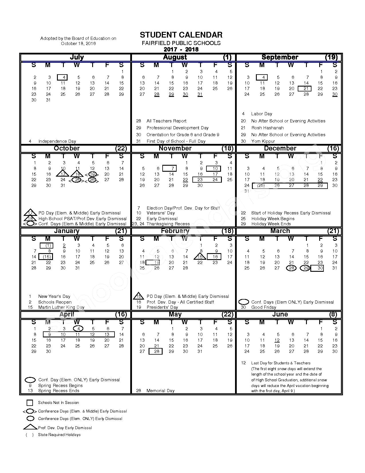 2017 - 2018 District Calendar – Fairfield School District – page 1