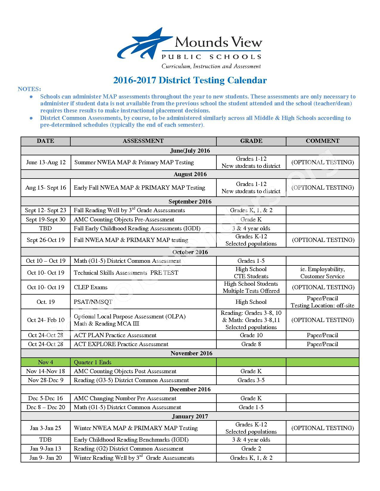 2016 - 2017 District Testing Calendar – Mounds View Public School District – page 1