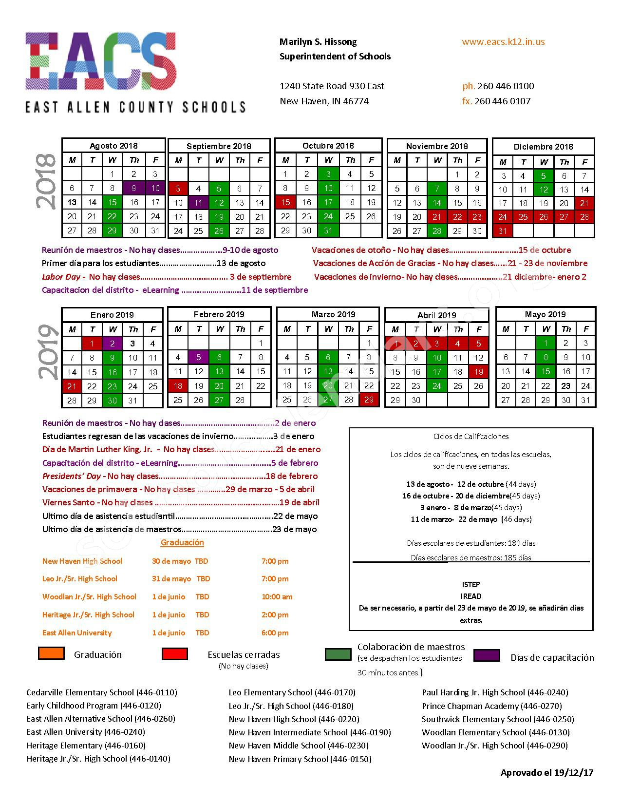 2018 - 2019 District Calendar – East Allen County Schools – page 1