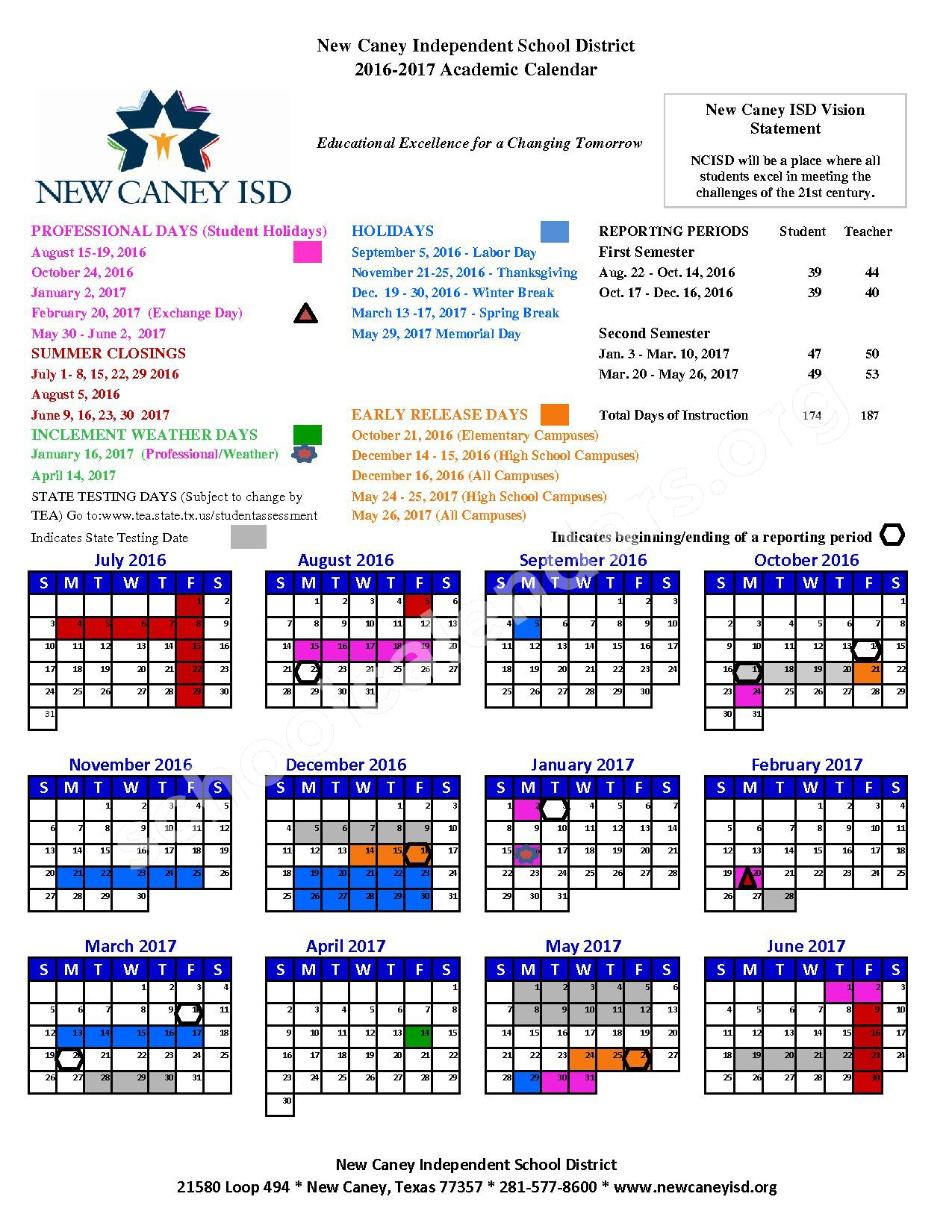 2016 - 2017 District Calendar – New Caney Independent School District – page 1