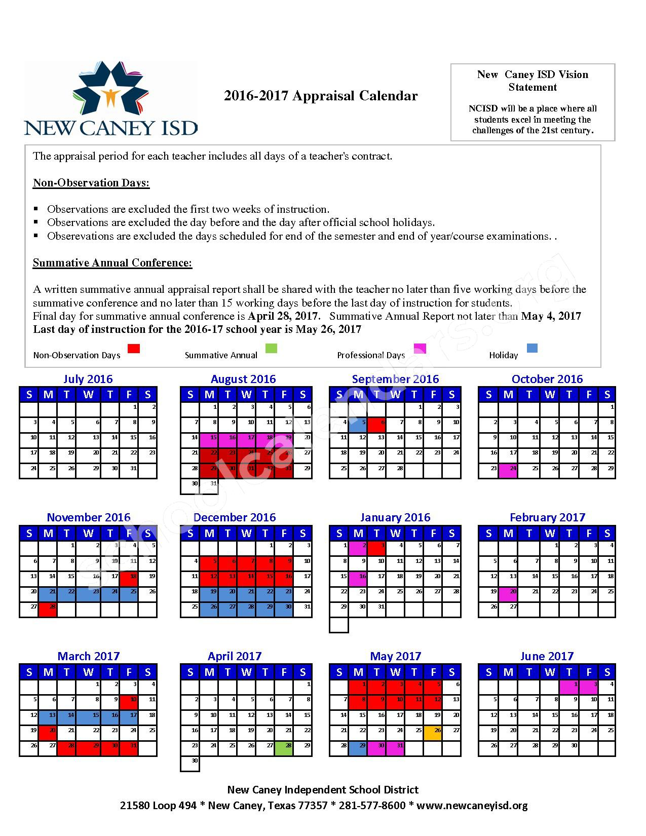 2016 - 2017 Appraisal Calendar – New Caney Independent School District – page 1