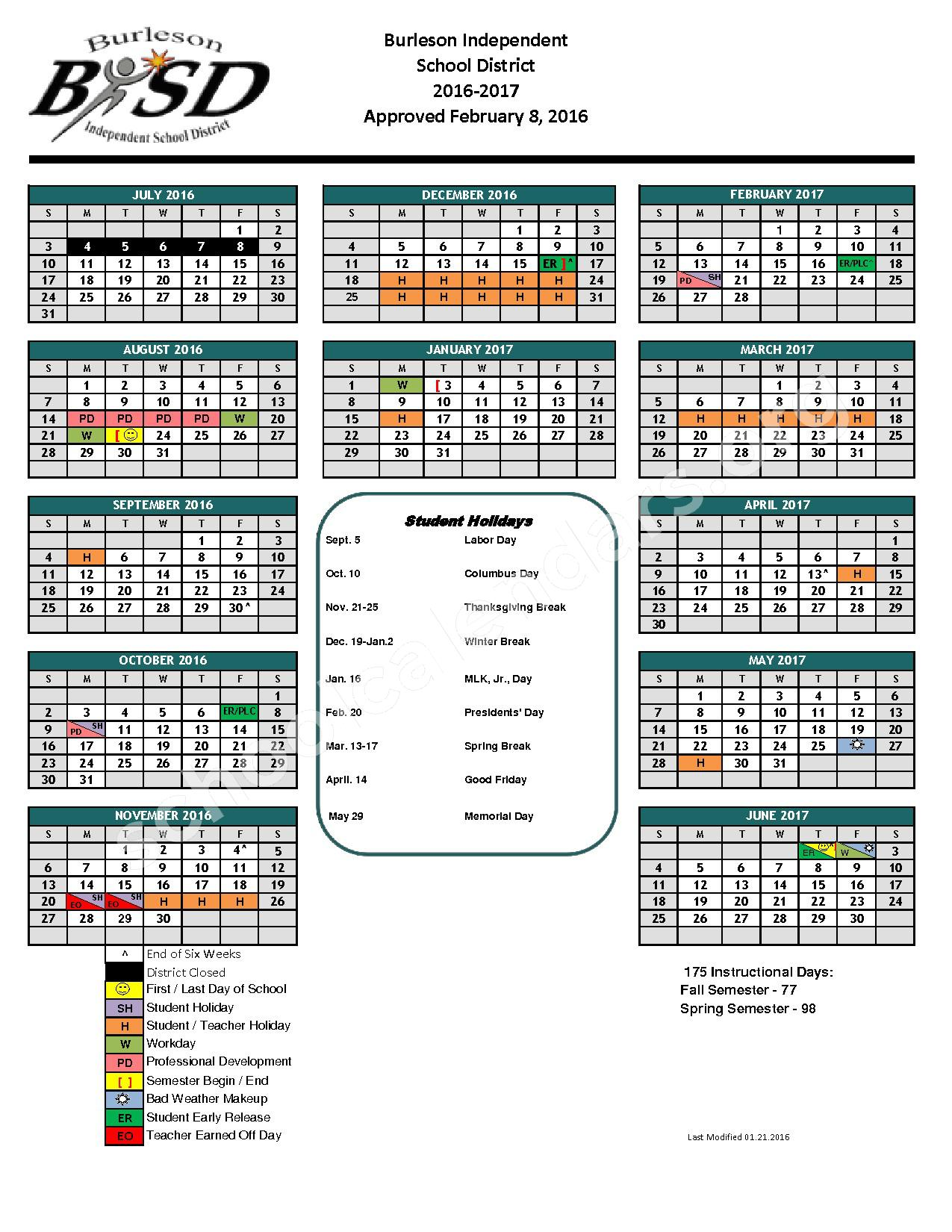 2016 - 2017 District Calendar – Frazier Elementary School – page 1