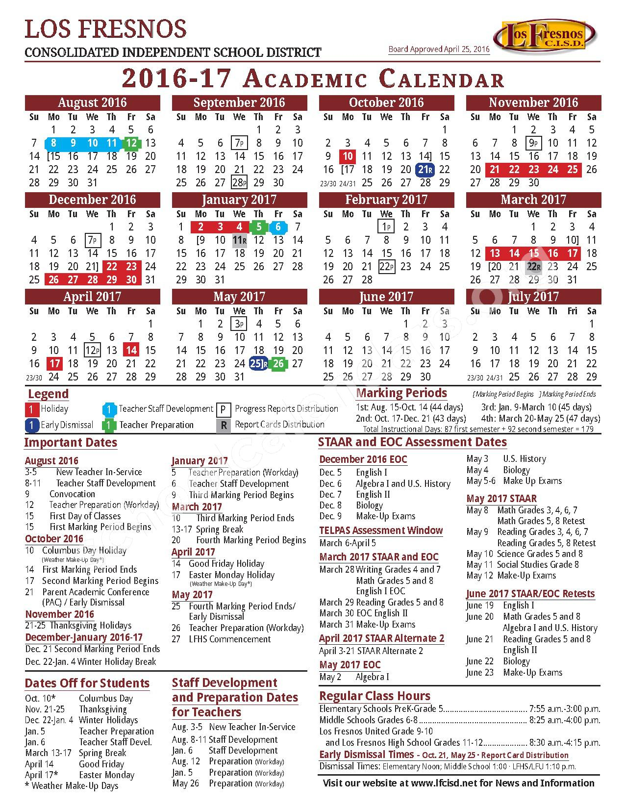 2016 - 2017 Academic Calendar – Los Fresnos Consolidated Independent School District – page 1