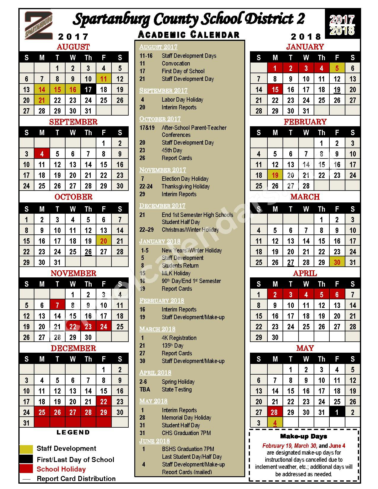 2017 - 2018 District Calendar – Cooley Springs-Fingerville Elementary School – page 1
