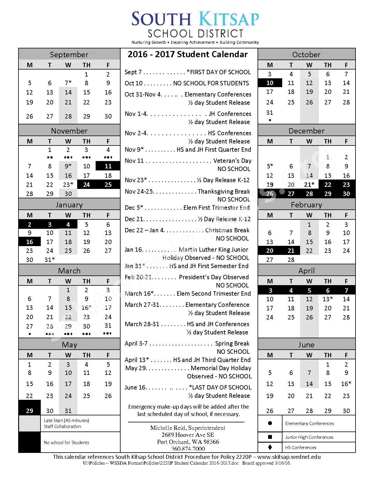 2016 - 2017 School Calendar – South Kitsap School District – page 1
