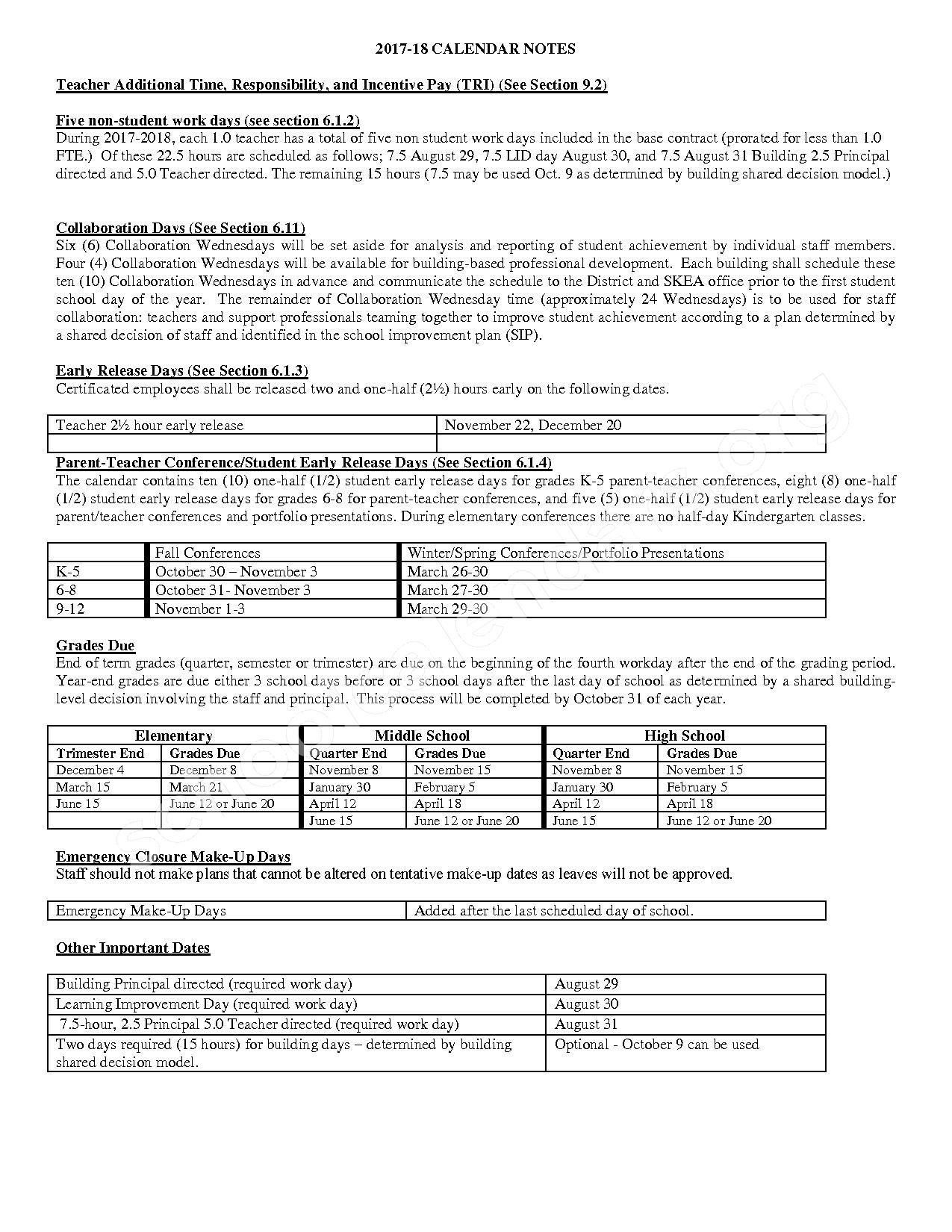 2017 - 2018 School Calendar – South Kitsap School District – page 2