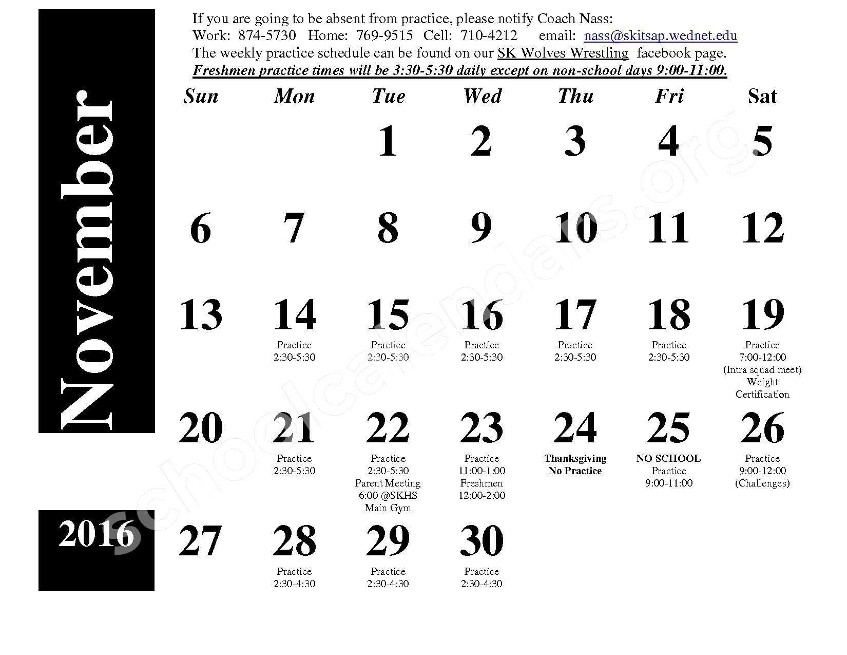 2016 - 2017 Wrestling Calendar – South Kitsap School District – page 1