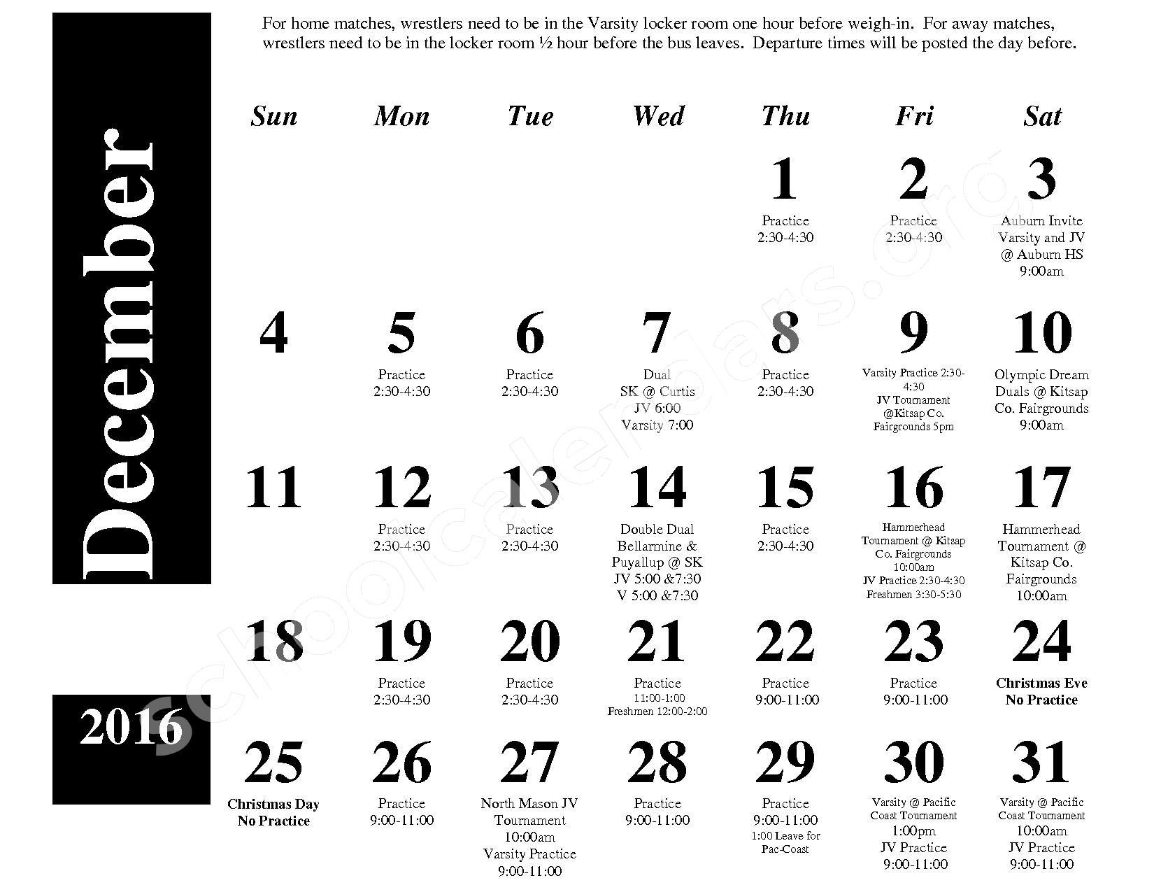 2016 - 2017 Wrestling Calendar – South Kitsap School District – page 2