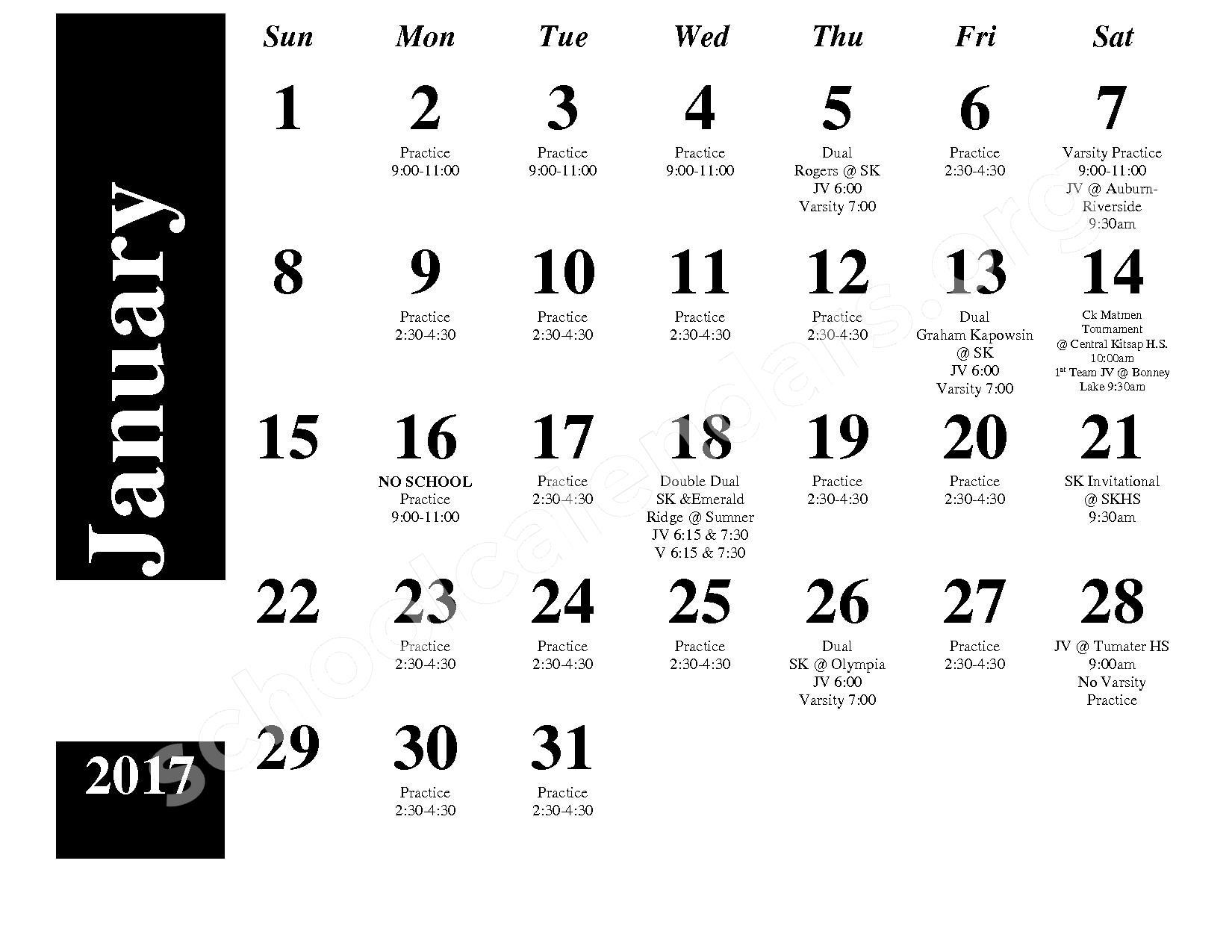 2016 - 2017 Wrestling Calendar – South Kitsap School District – page 3