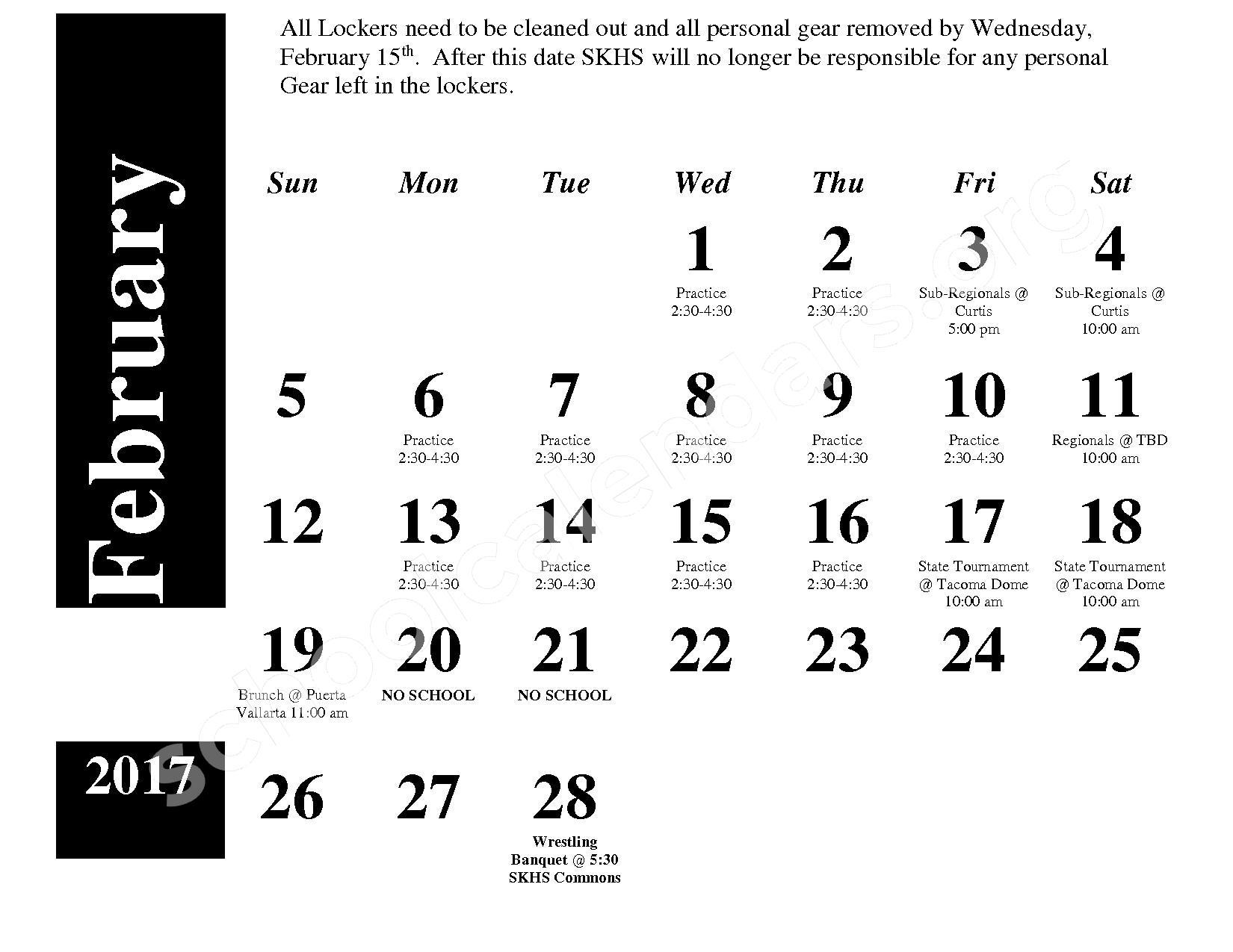 2016 - 2017 Wrestling Calendar – South Kitsap School District – page 4