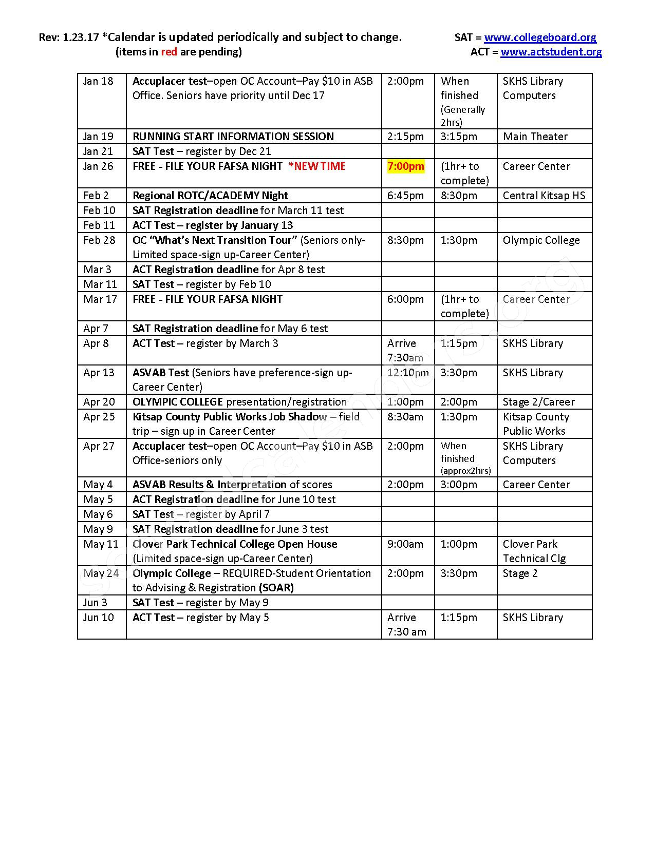 2016 - 2017 Career Counseling Calendar – South Kitsap School District – page 2