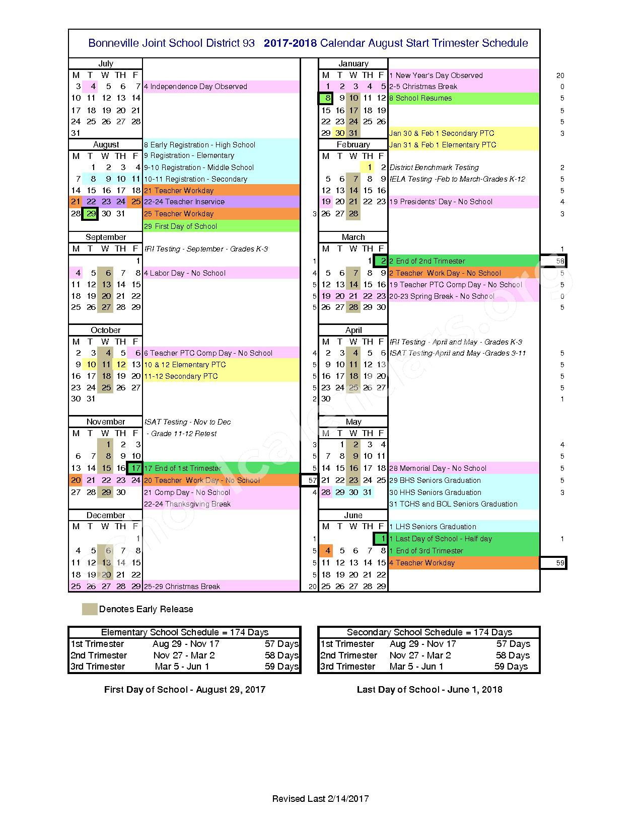 2017 - 2018 School Calendar – Bonneville Joint School District #93 – page 1