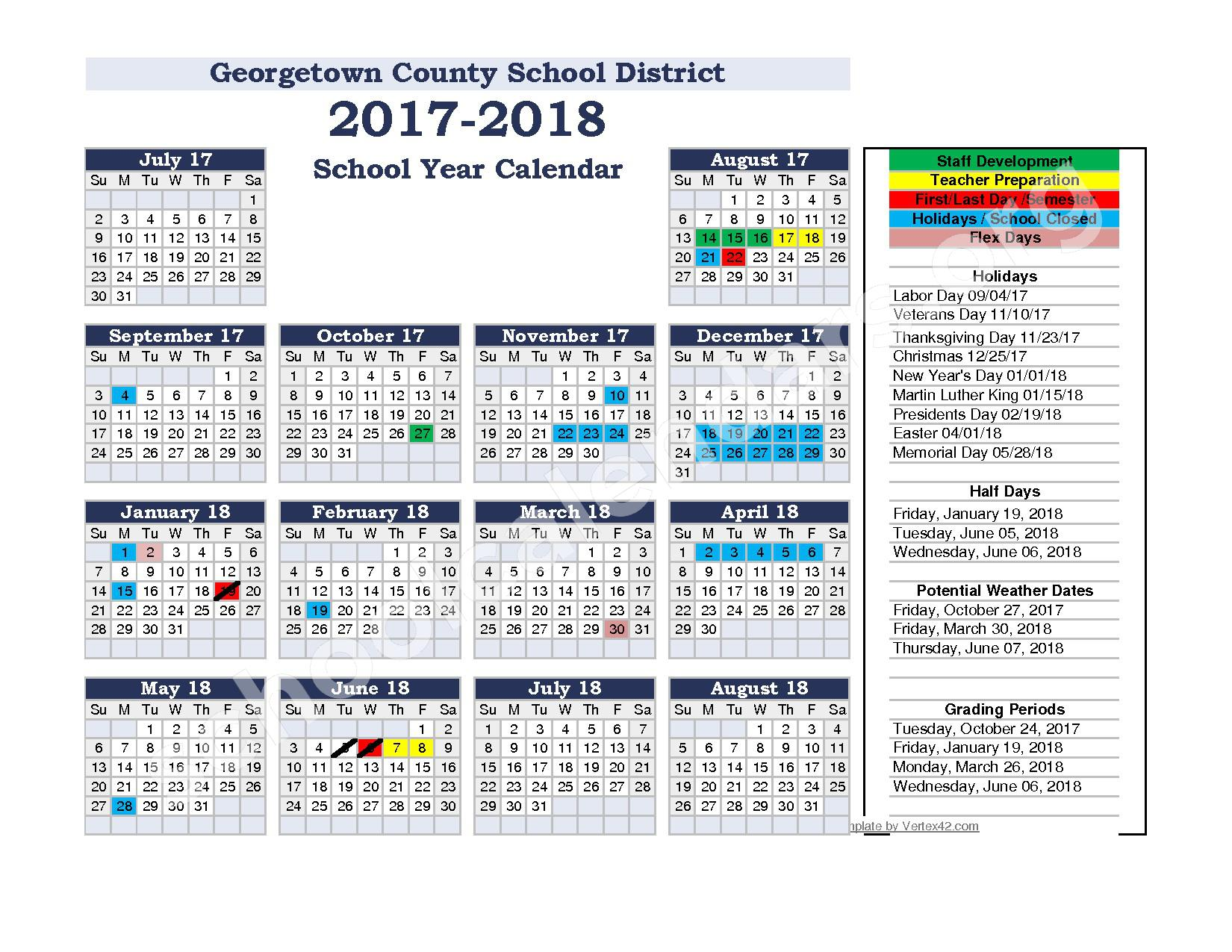 2017 - 2018 School Calendar – Georgetown County School District  – page 1