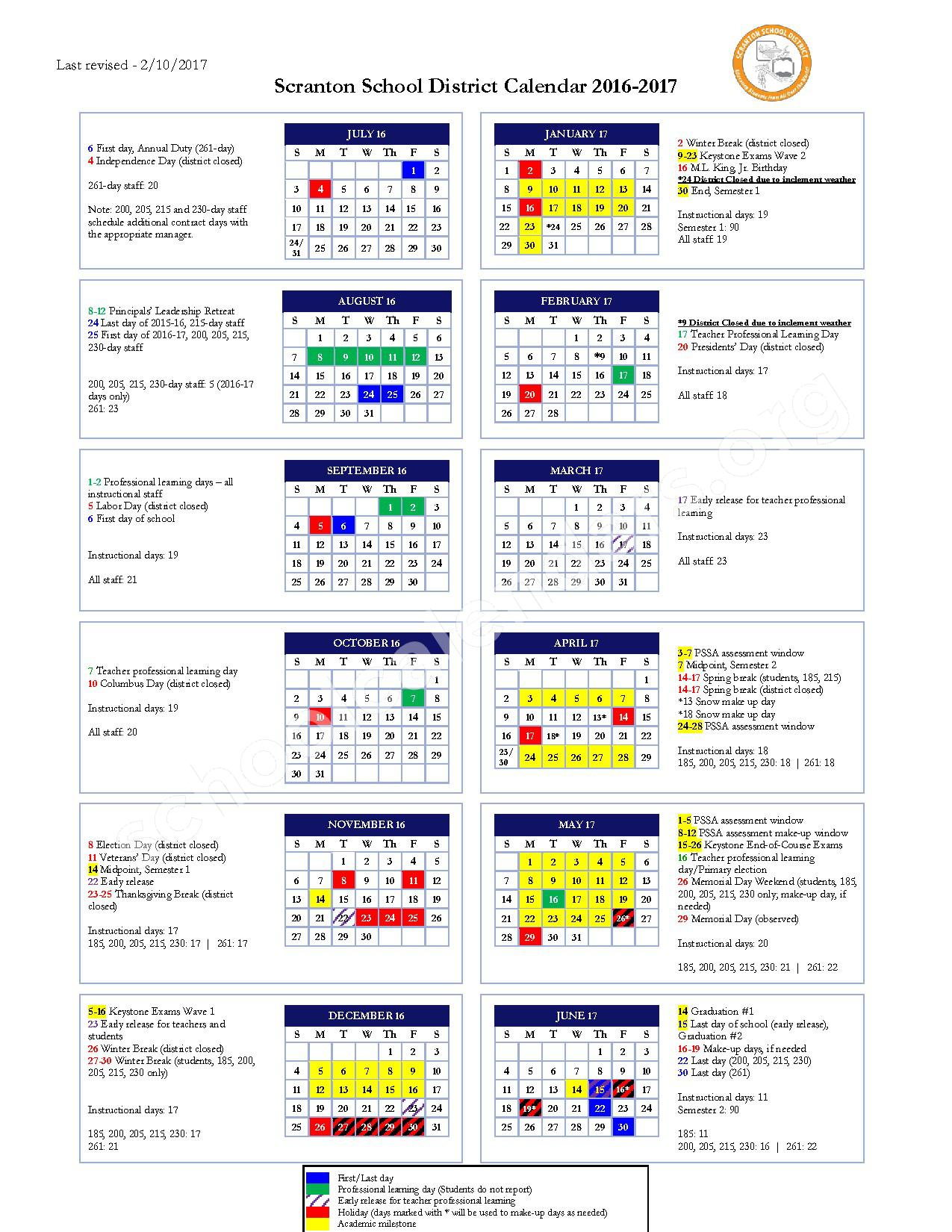 2016 - 2017 School Calendar – Scranton School District – page 1