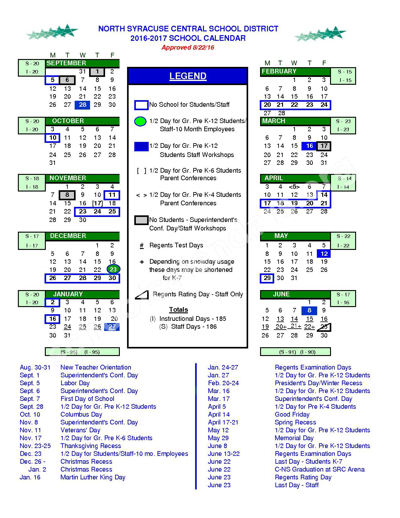 2016 - 2017 Academic Calendar – North Syracuse Central School District – page 1