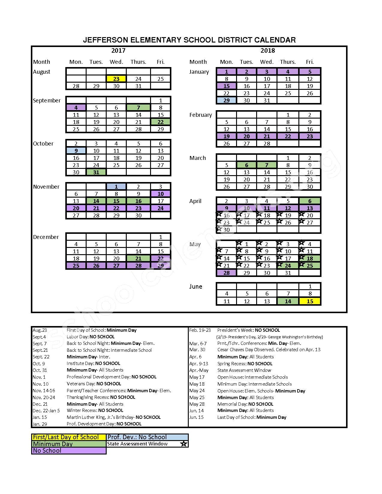 2017 - 2018 School Calendar – Jefferson Elementary School District – page 1