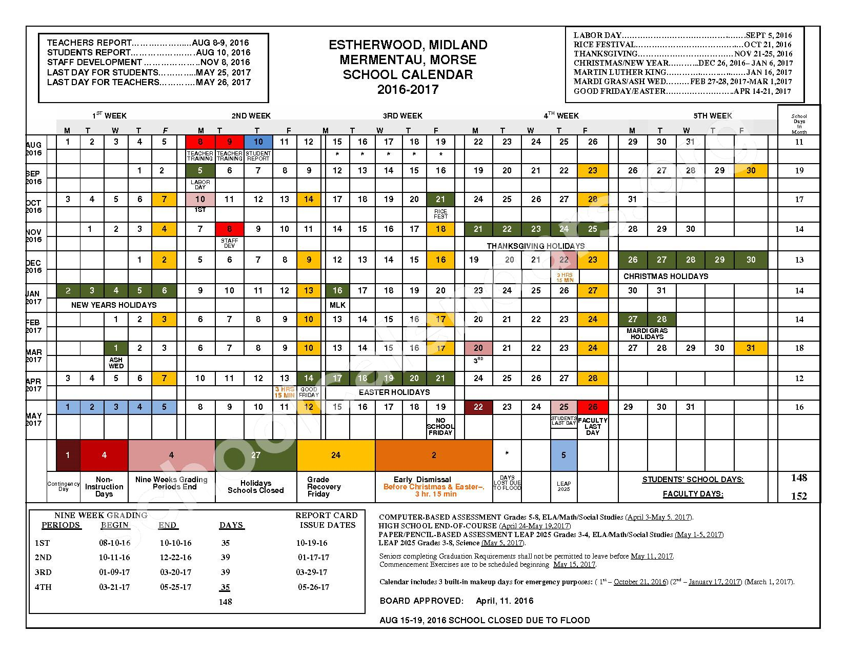 2016 - 2017 School Calendar – Acadia Parish School Board – page 1