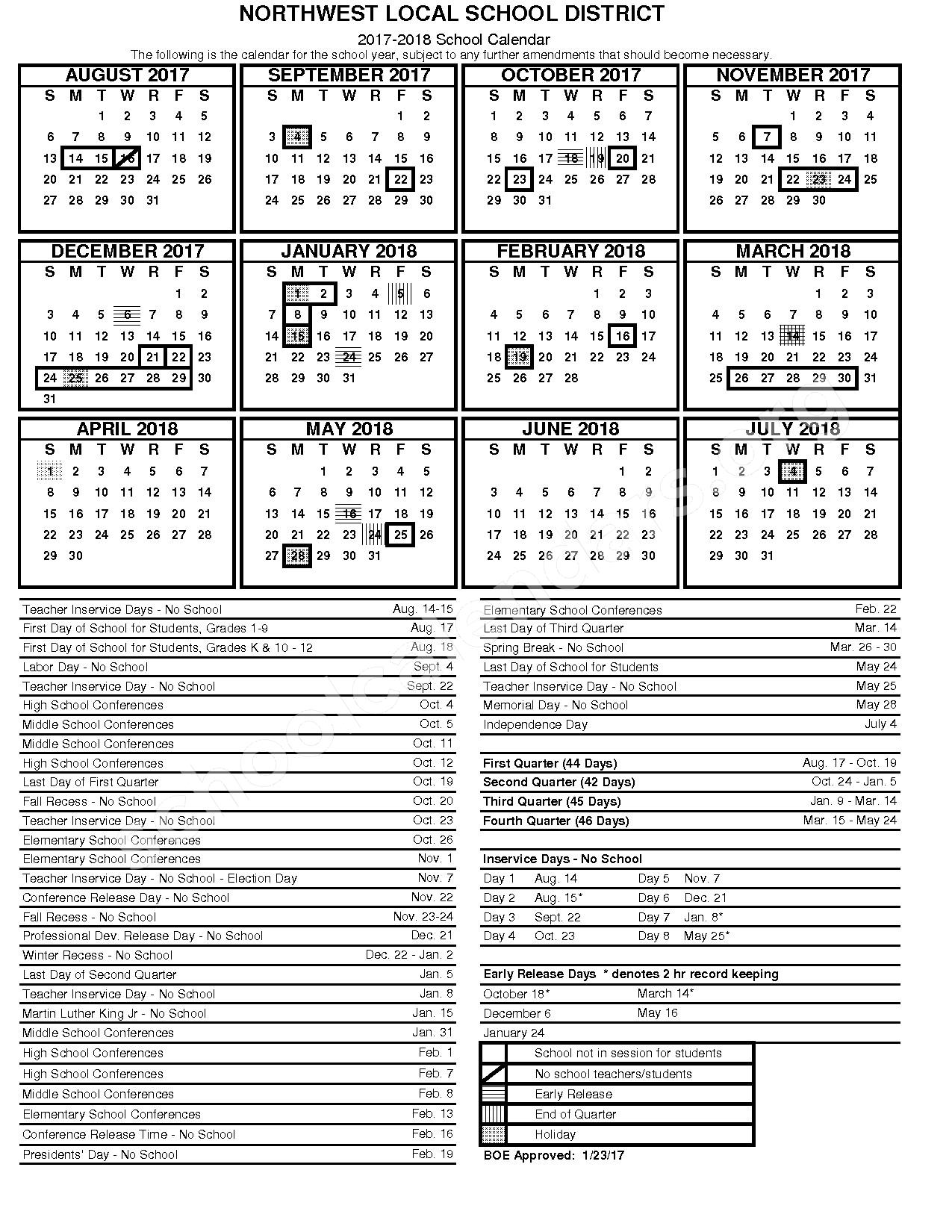 2017 - 2018 District Calendar – Bevis Elementary School – page 1