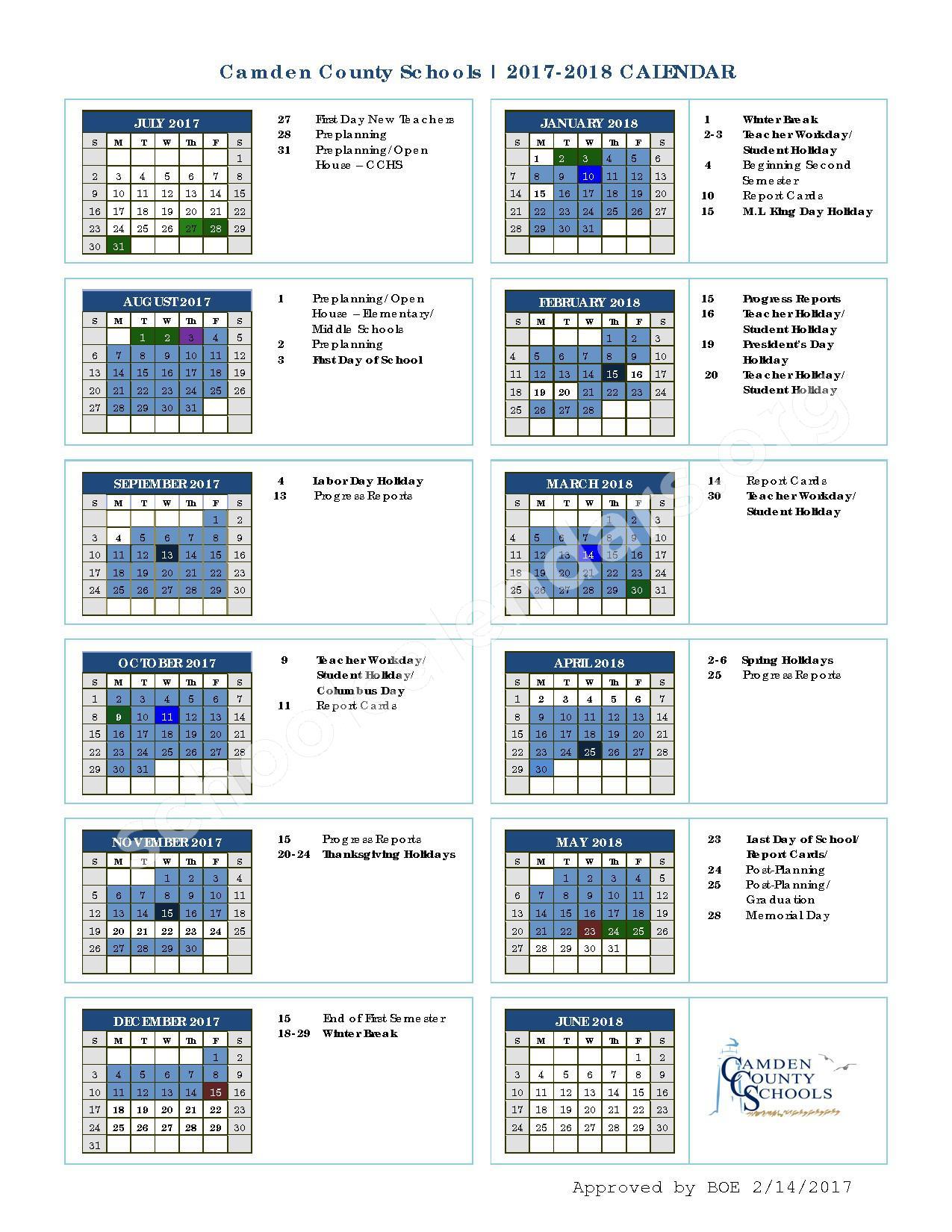 2017 - 2018 CCSD School Calendar – Camden County School District – page 1