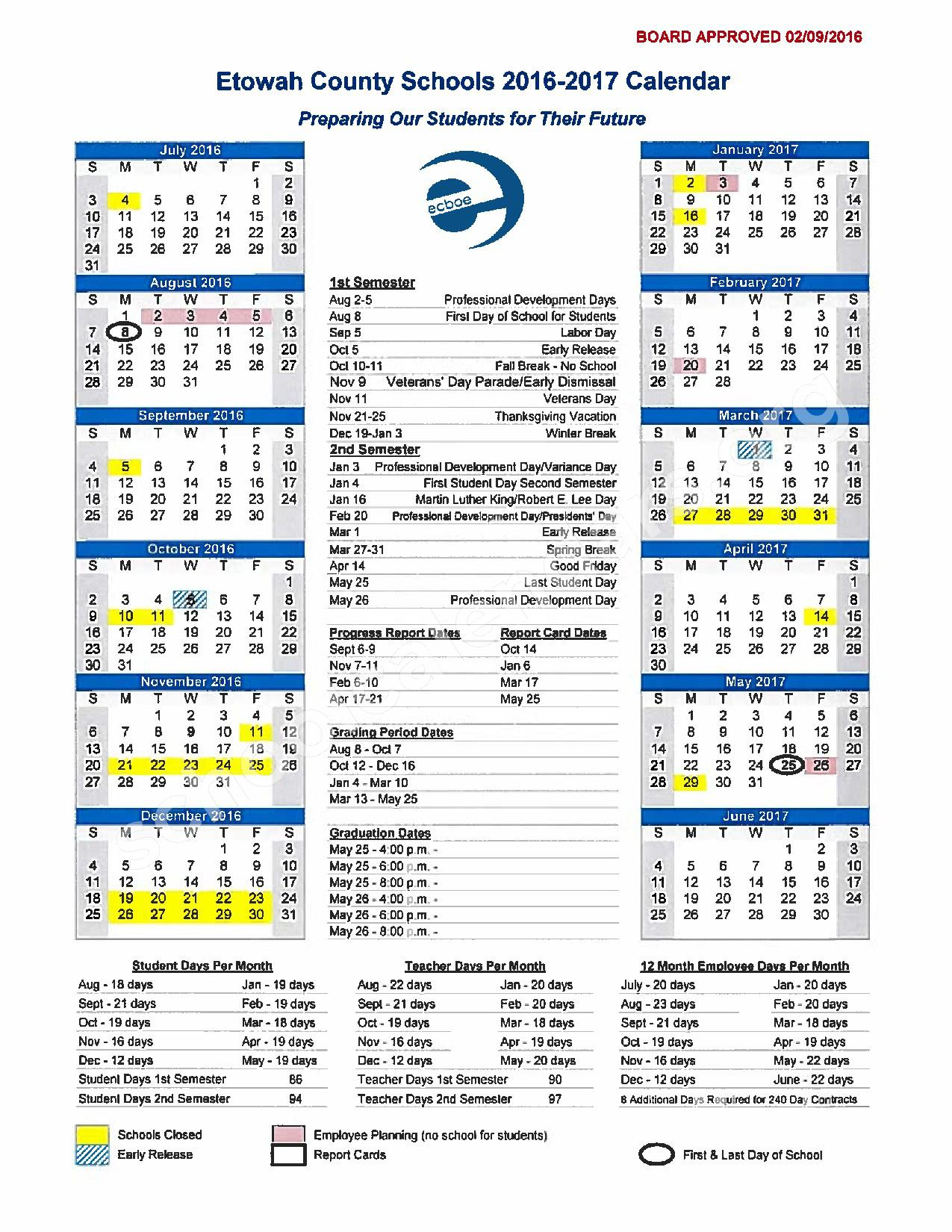 201 - 2017 School Calendar – Southside High School – page 1