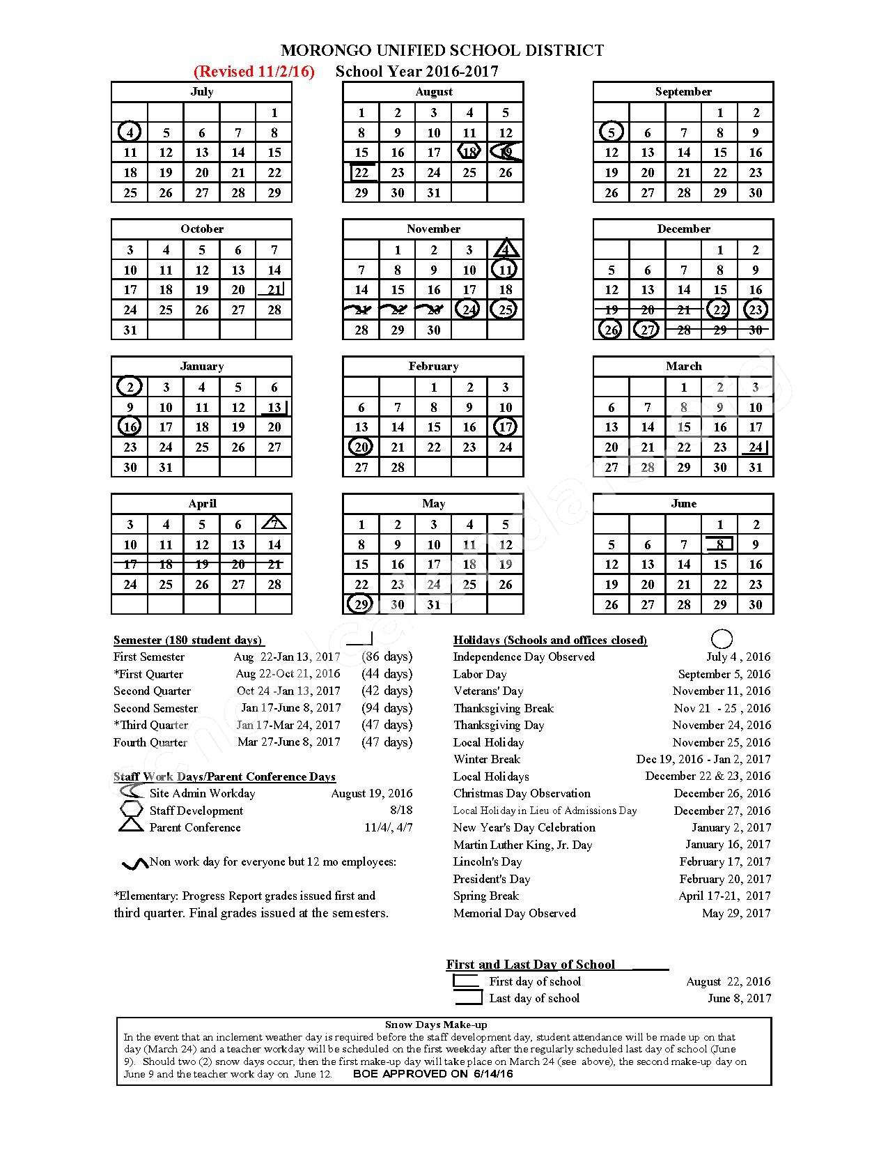 2016 - 2017 School Calendar – Morongo Unified School District – page 1