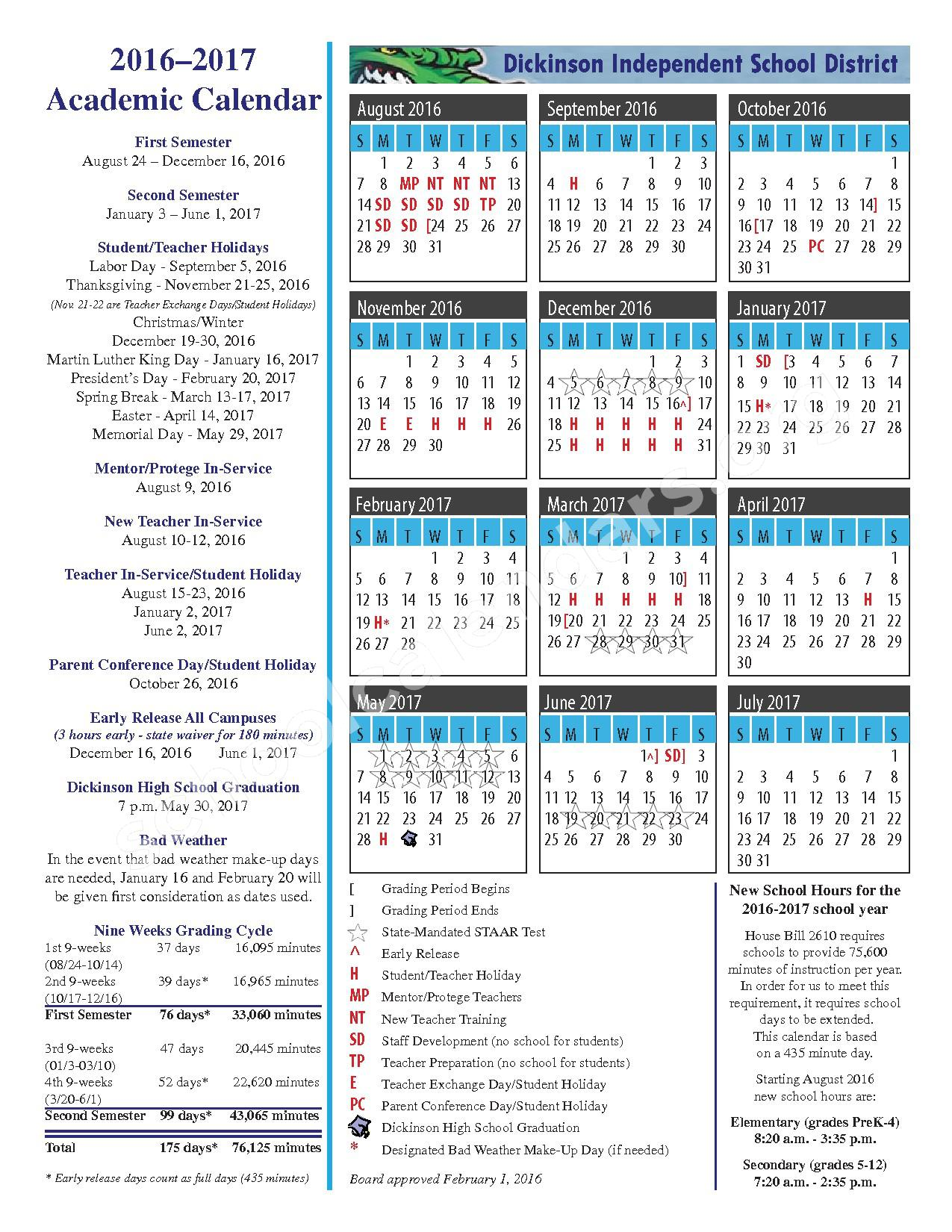 2016 - 2017 District Calendar – Dickinson Independent School District – page 1