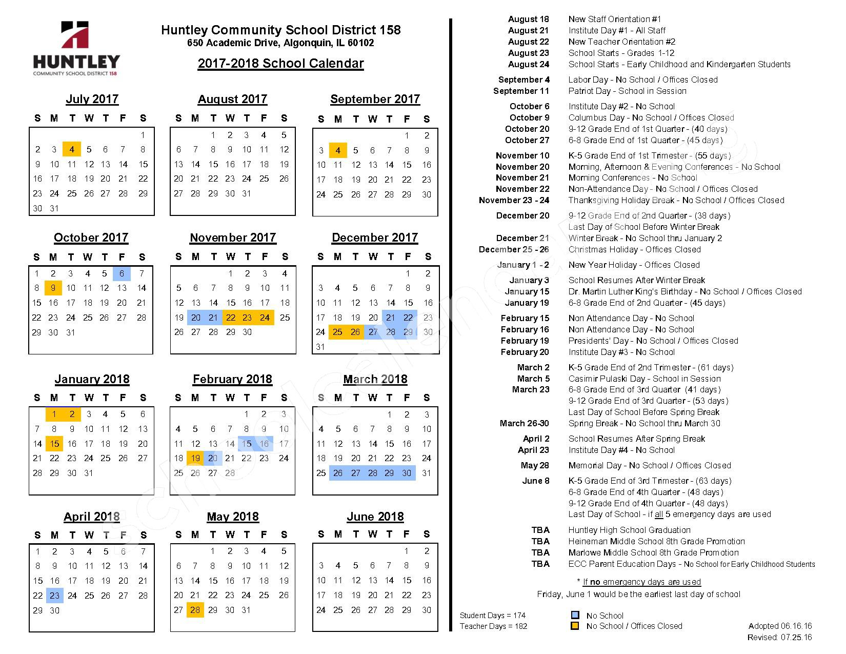 2017 - 2018 District Calendar – Huntley High School – page 1