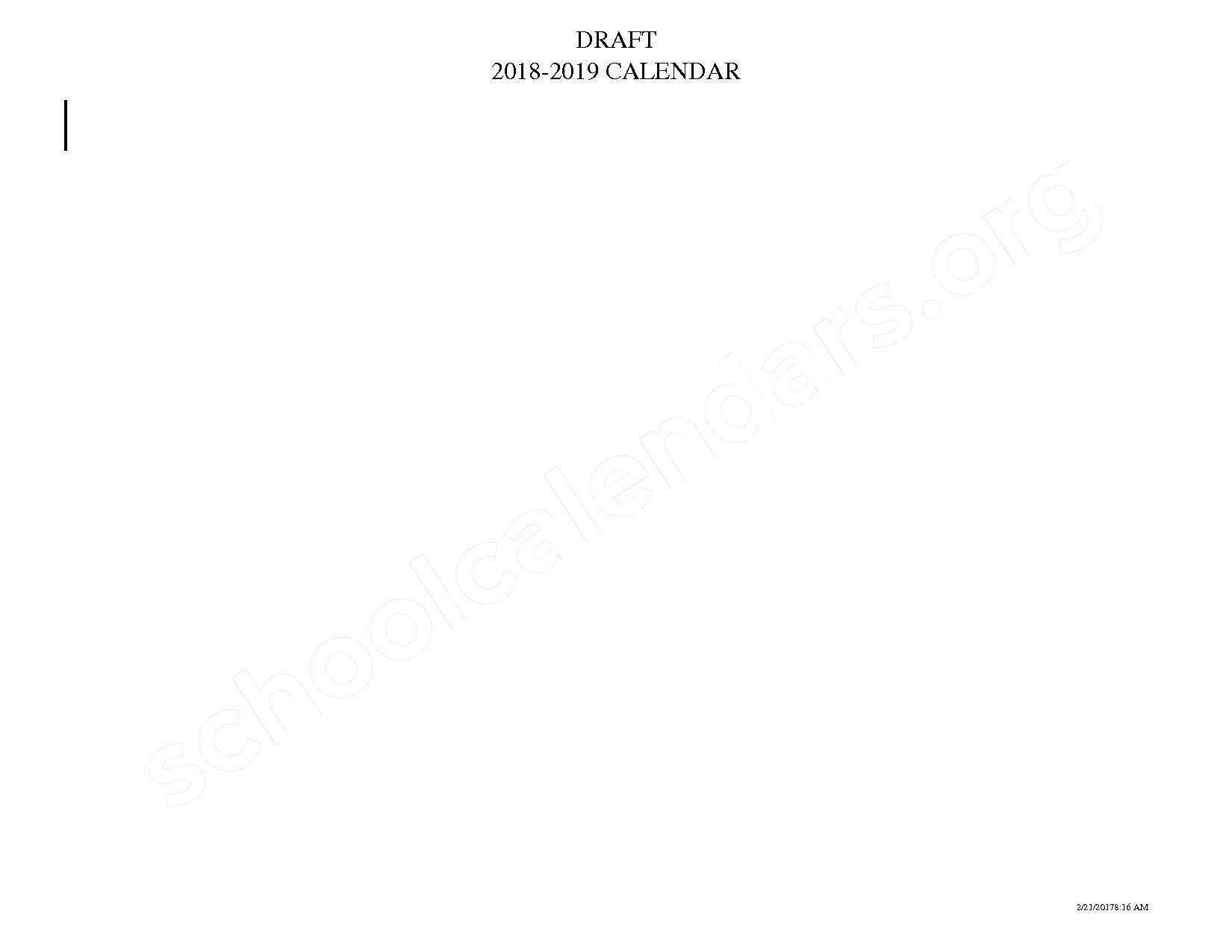 2018 - 2019 School Calendar (draft) – Greenwood School District 50 – page 2